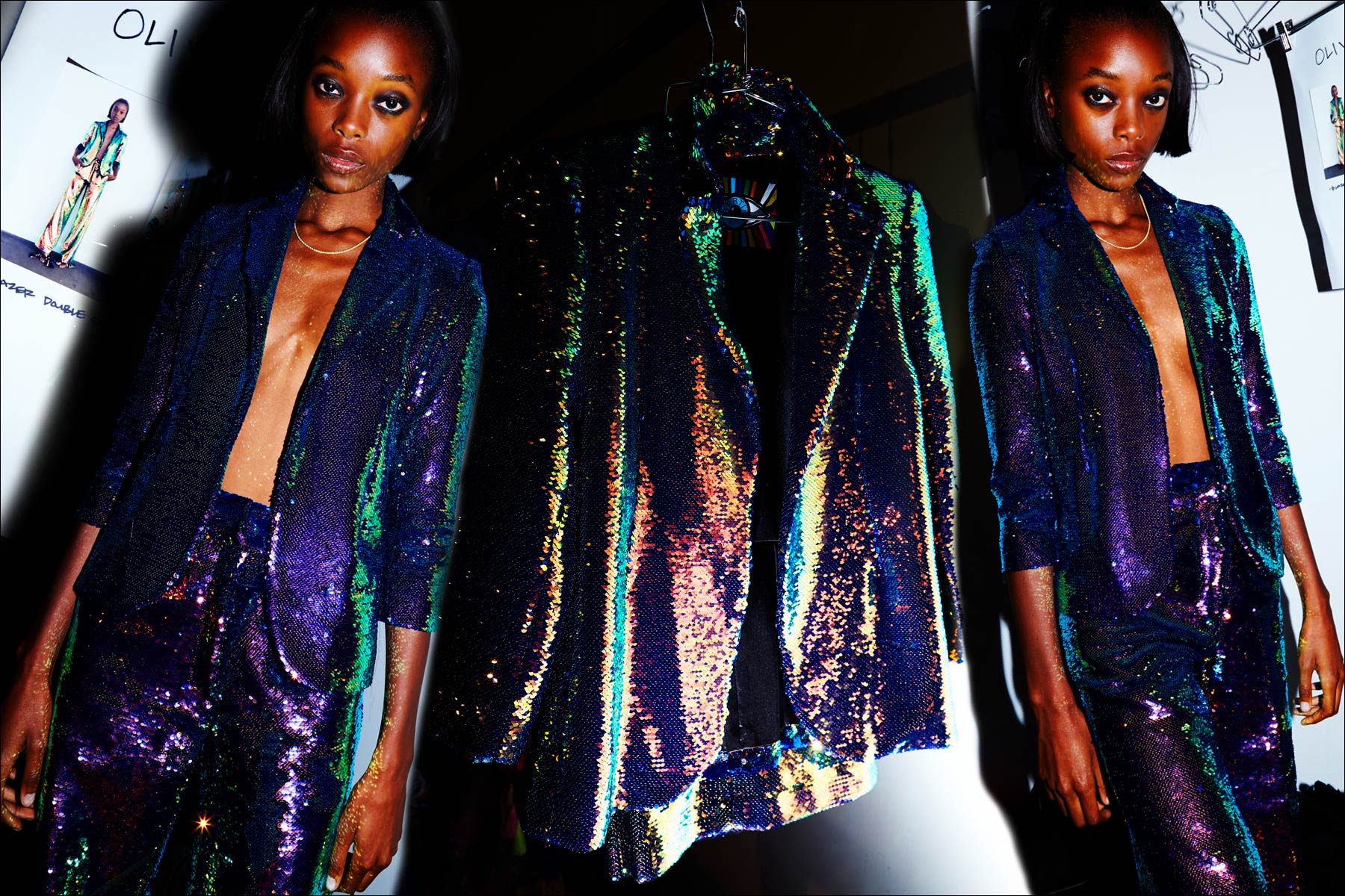A model wears an iridescent sequin pantsuit from Libertine S/S18. Photographed by Alexander Thompson for Ponyboy magazine NY.