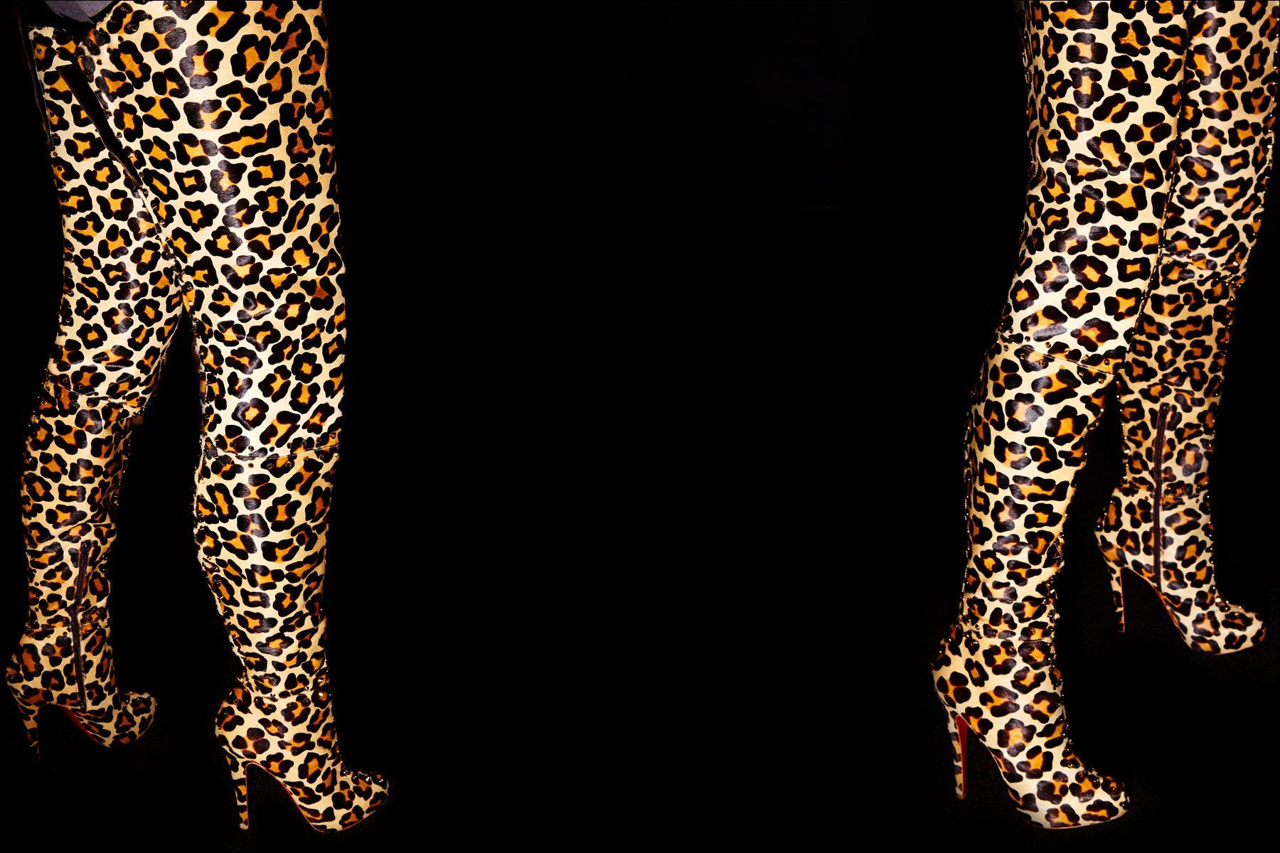Leopard thigh-high Christian Louboutin boots, backstage at The Blonds S/S18 show. Photography by Alexander Thompson for Ponboy magazine NY.