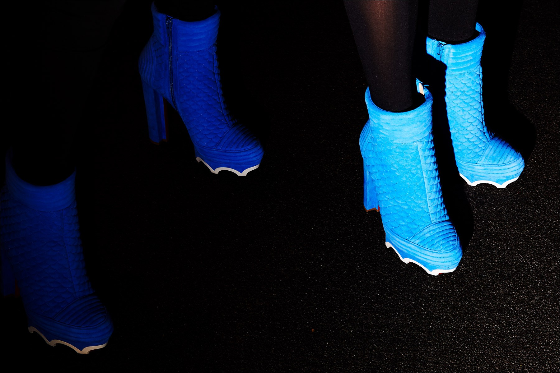 Colorful quilted Chris tian Louboutin boots backstage at The Blonds S/S18 show. Photographed by Alexander Thompson for Ponyboy magazine NY.