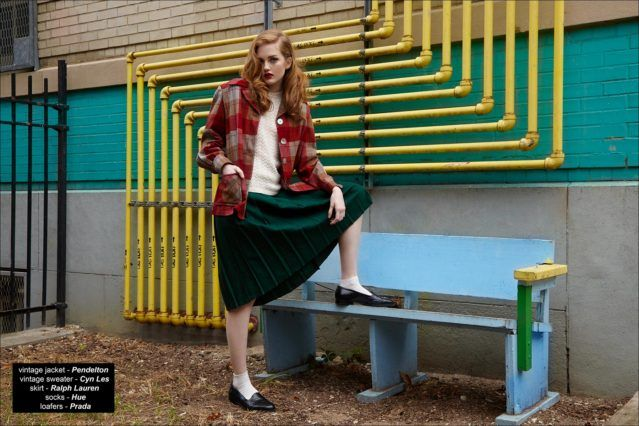 """""""Girls School"""", a vintage womenswear editorial with model Briggs Rudder, from Wilhelmina Models NY. Photographed by Alexander Thompson, with styling by Xina Giatas. Ponyboy magazine."""