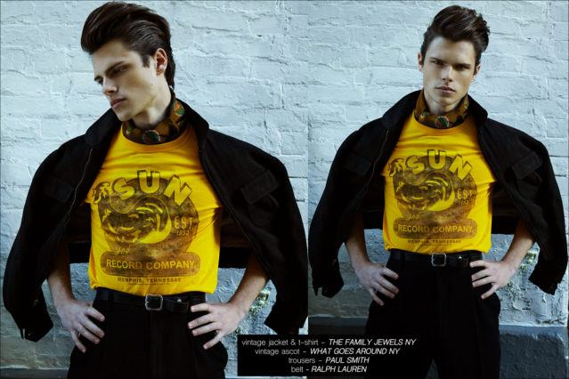 Male model Casey Jackson wears a vintage Sun Records t-shirt. Photographed by Alexander Thompson for Ponyboy magazine.