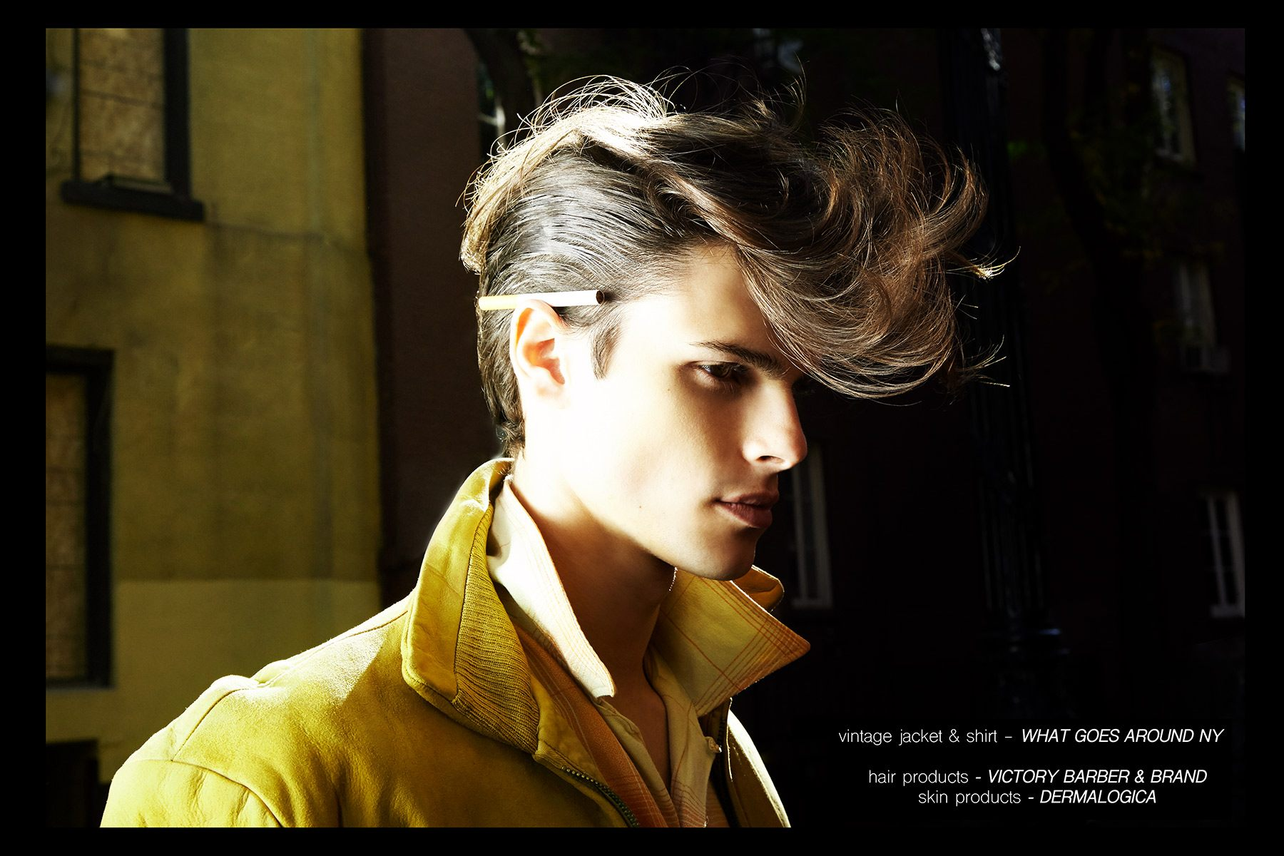 Model Casey Jackson, from New York Model Management, featured in menswear editorial
