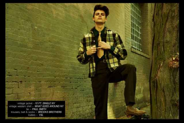 "Model Casey Jackson featured in Ponyboy menswear editorial ""Minetta Street '57"". Photographed by Alexander Thompson."