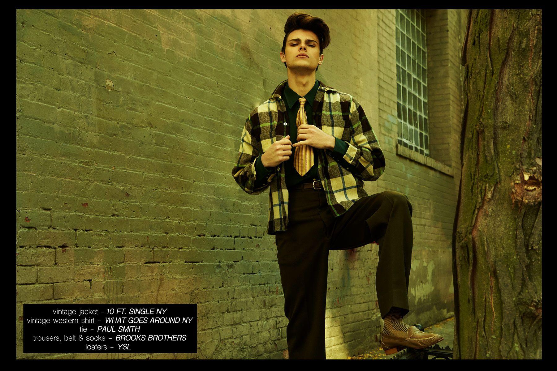 Model Casey Jackson featured in Ponyboy menswear editorial