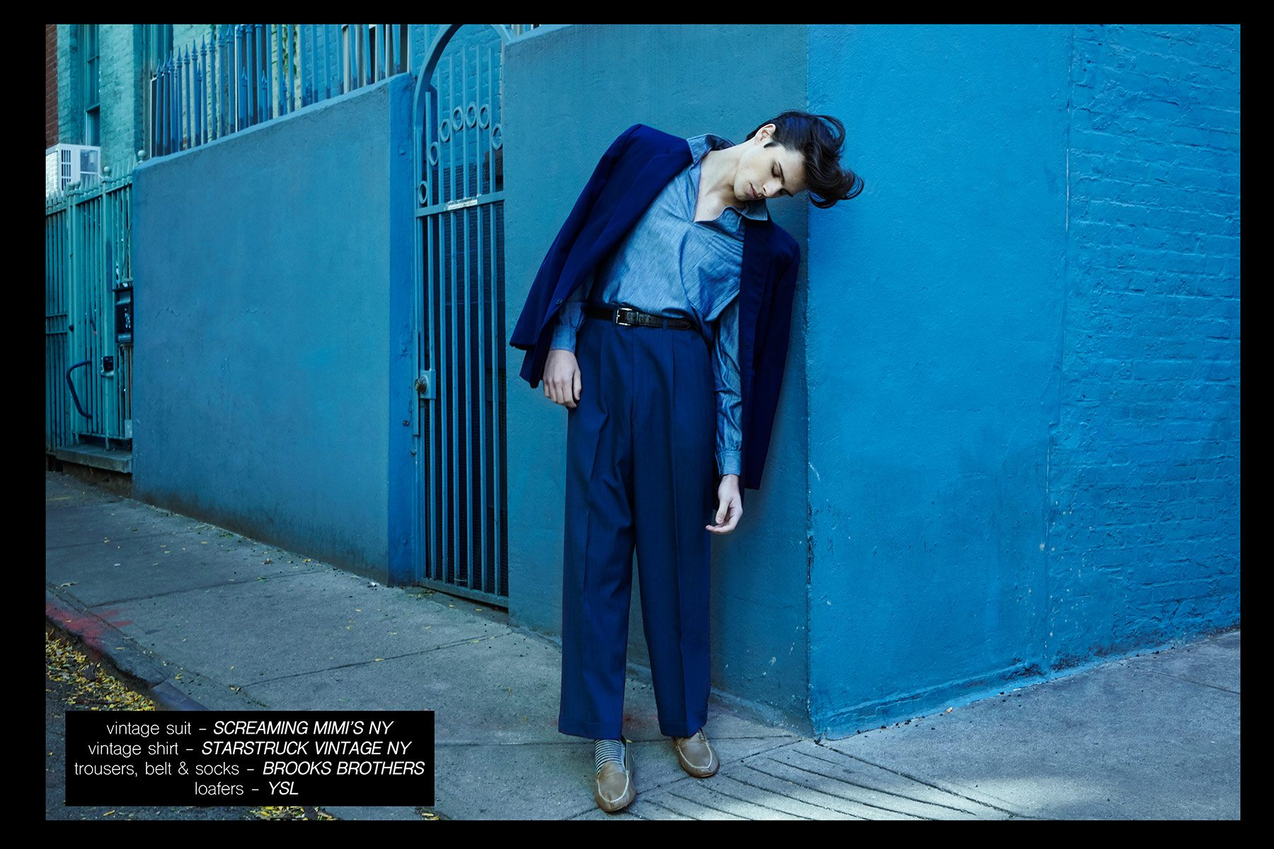 Male model Casey Jackson, from New York Model Management, featured in Ponyboy menswear editorial