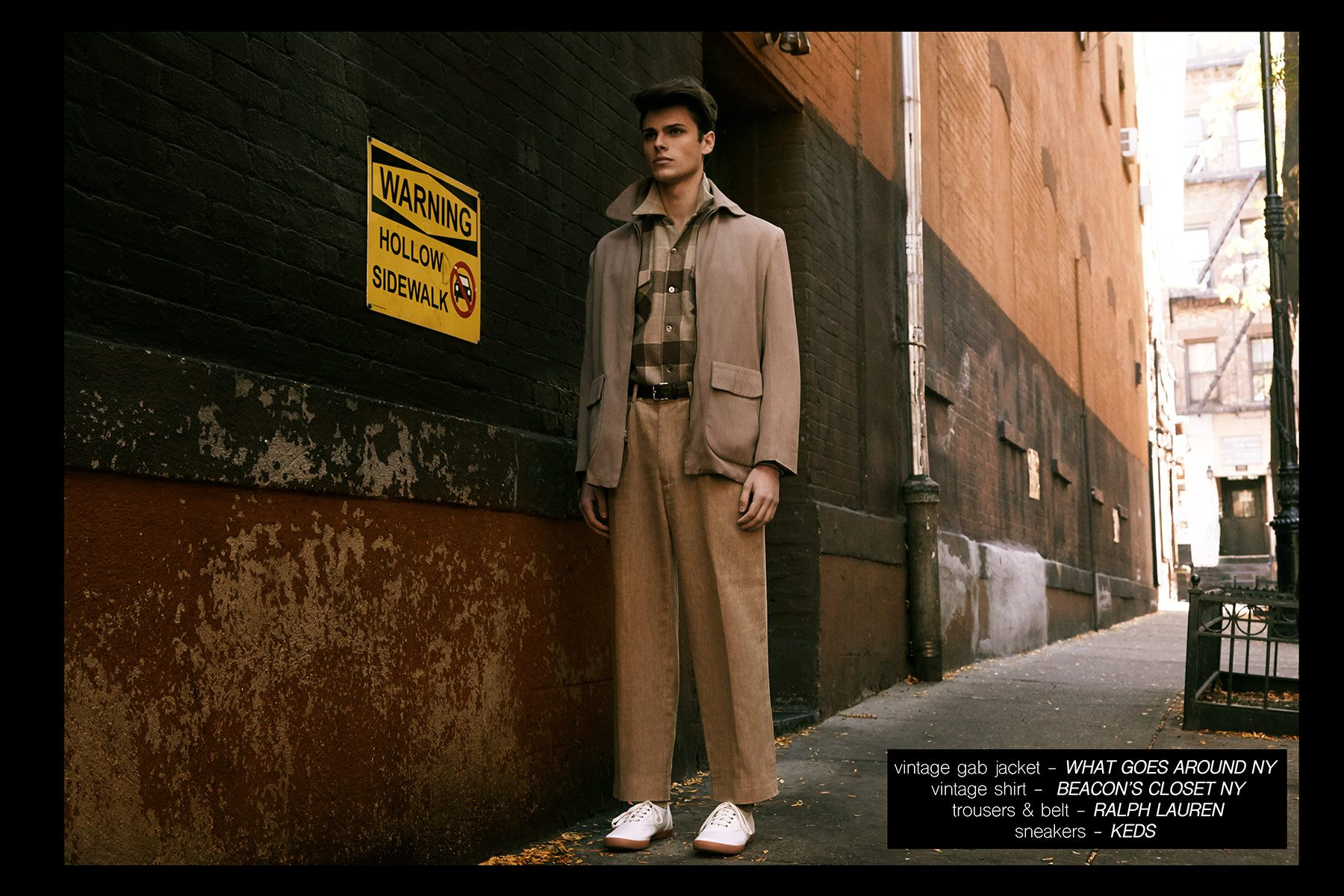 Male model Casey Jackson, from New York Model Management, featured in menswear editorial