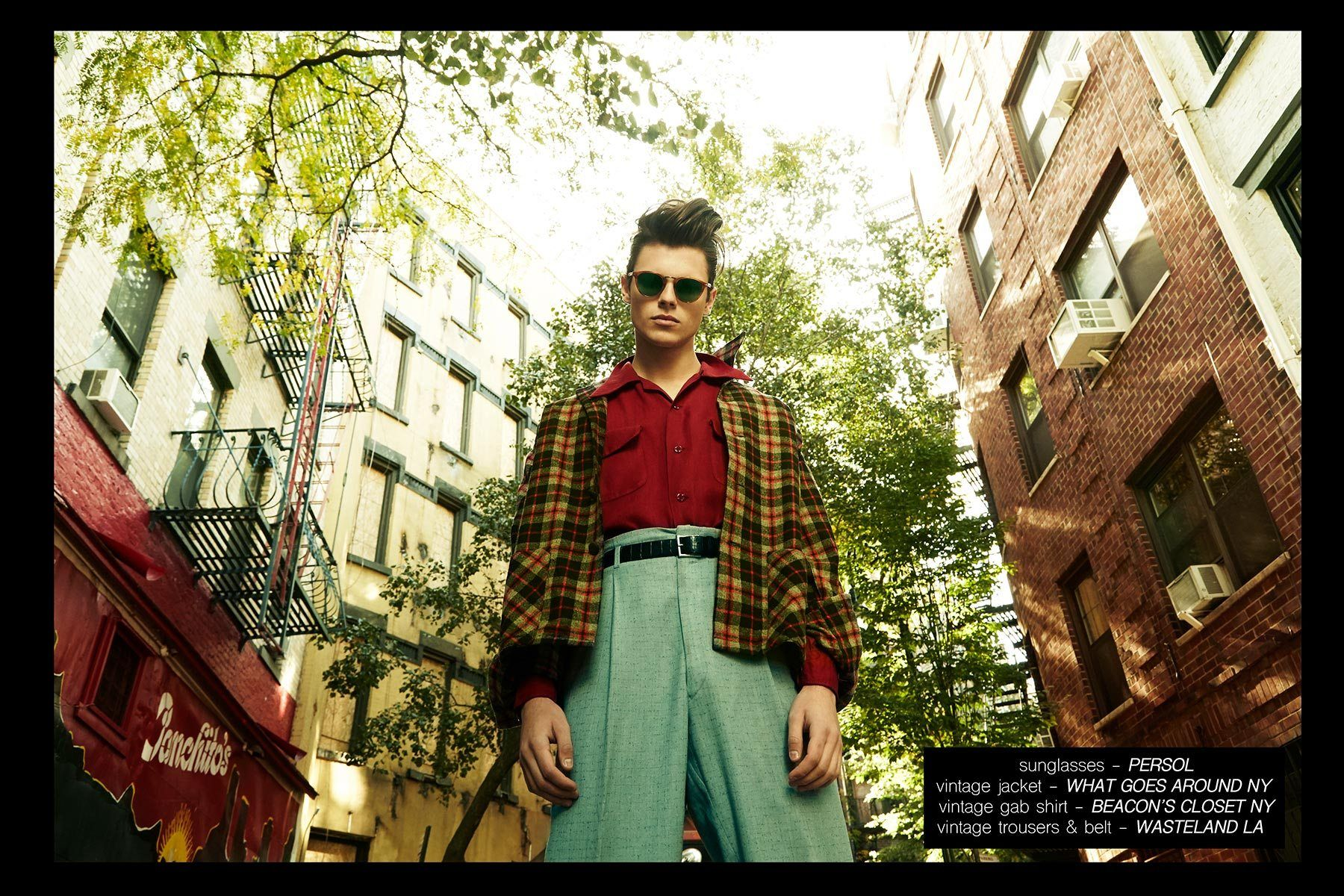 Model Casey Jackson, from New York Models, wears 1950s vintage menswear. Photographed by Alexander Thompson for Ponyboy magazine NY.
