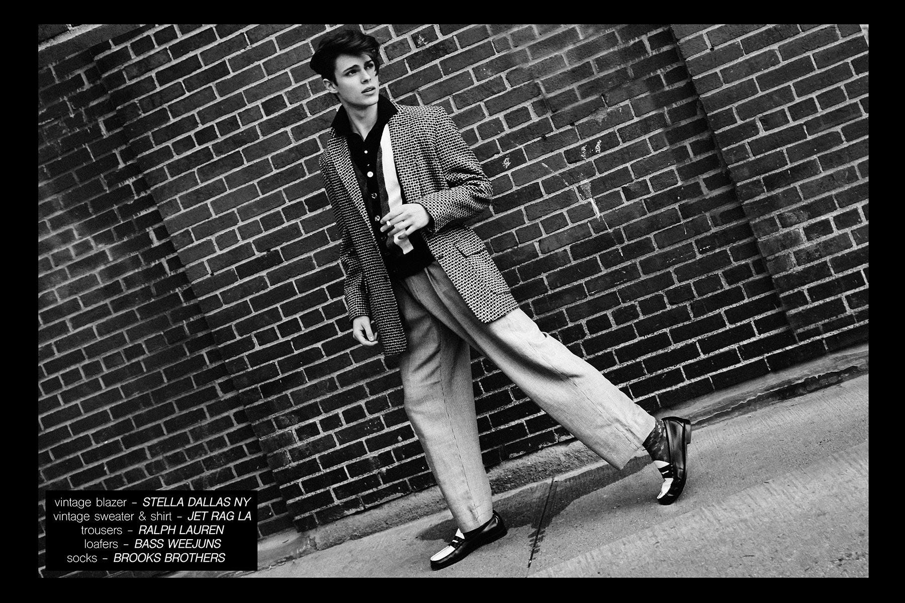 Male model Casey Jackson, from New York Model Management, wears 1950s vintage menswear. Photographed by Alexander Thompson for Ponyboy magazine NY.