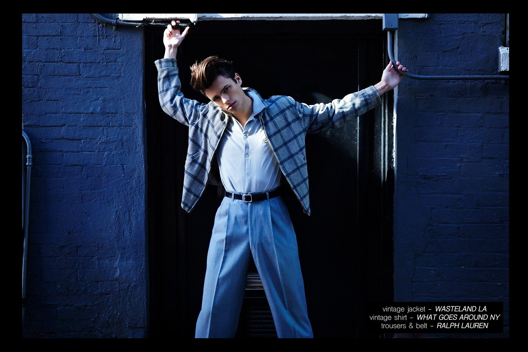Male model Casey Jackson, from New York Model Management, wears 1950s vintage clothing. Photographed by Alexander Thompson for Ponyboy magazine NY.
