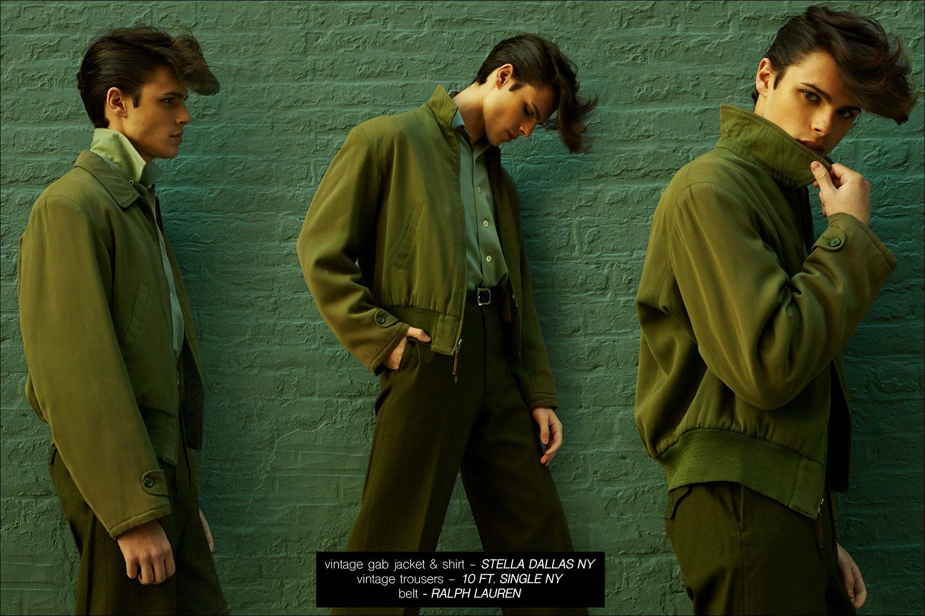 Male model Casey Jackson wears vintage gabardines. Photographed by Alexander Thompson for Ponyboy magazine NY.