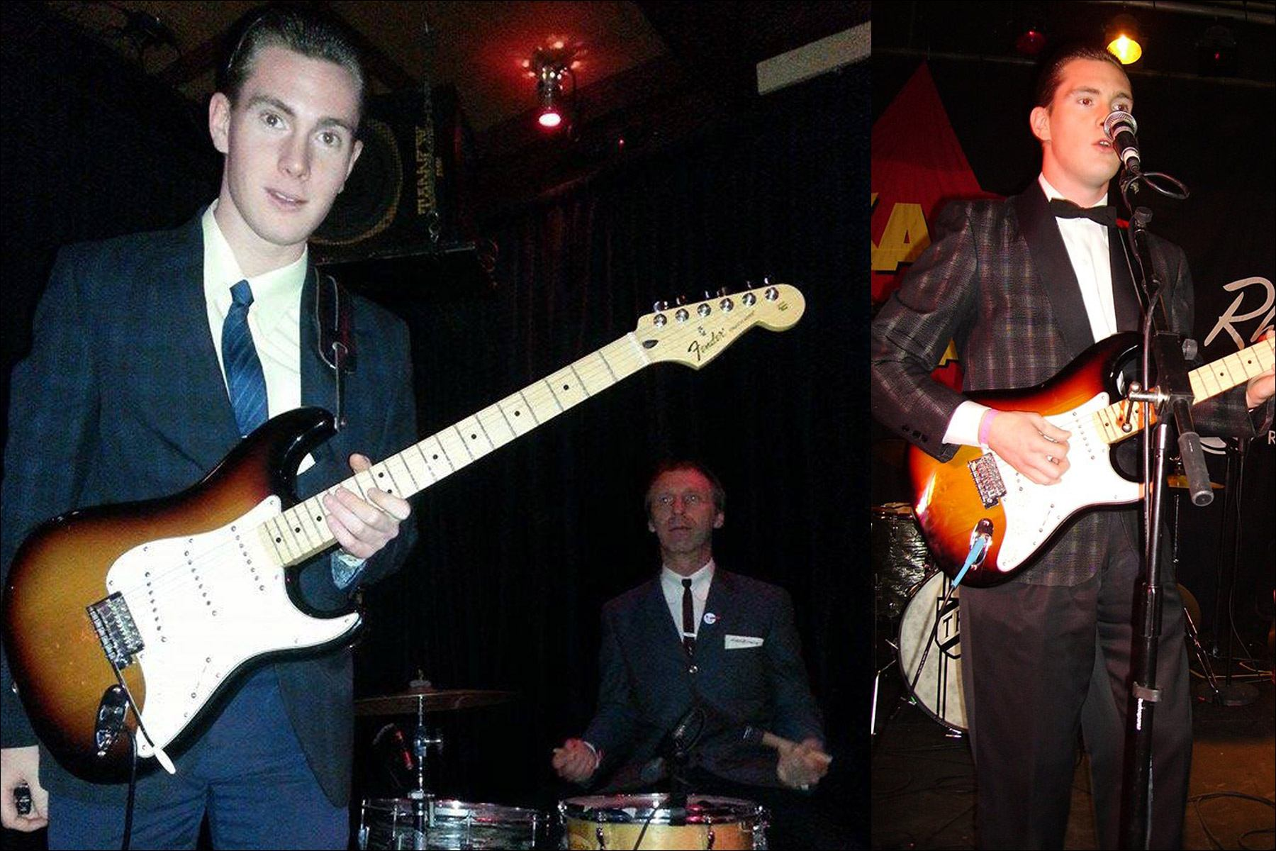 Canadian musician Lew Phillips wears formal attire onstage. Ponyboy magazine NY.