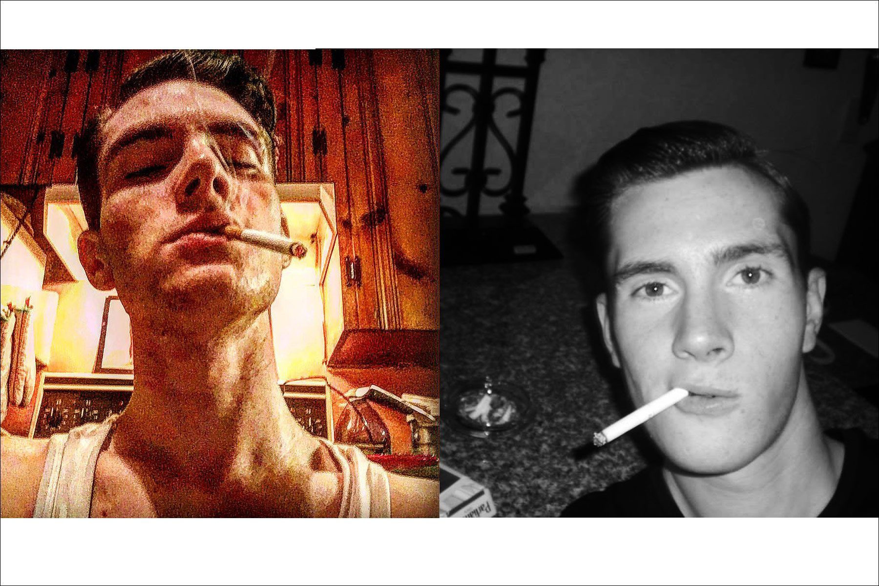 Photos of Canadian musician Lew Phillips smoking. Ponyboy magazine NY.