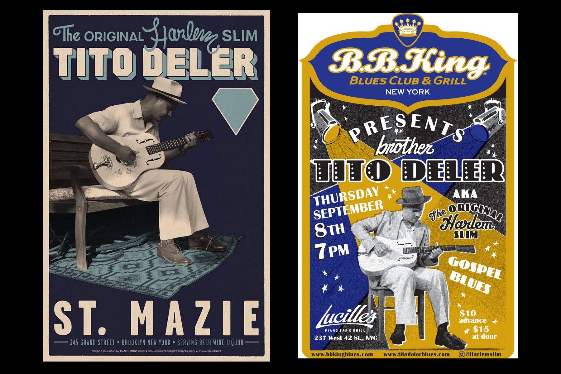 Flyers for musician Tito Deler, The Original Harlem Slim. Ponyboy magazine NY.