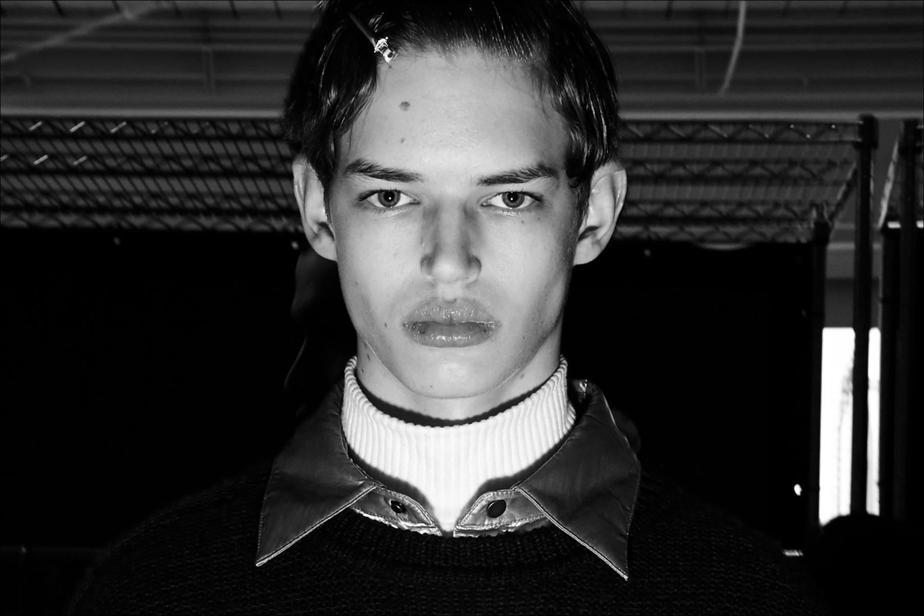 Male model Maxwell snapped backstage at Feng Chen Wang for Fall 2018. Photography by Alexander Thompson for Ponyboy magazine.