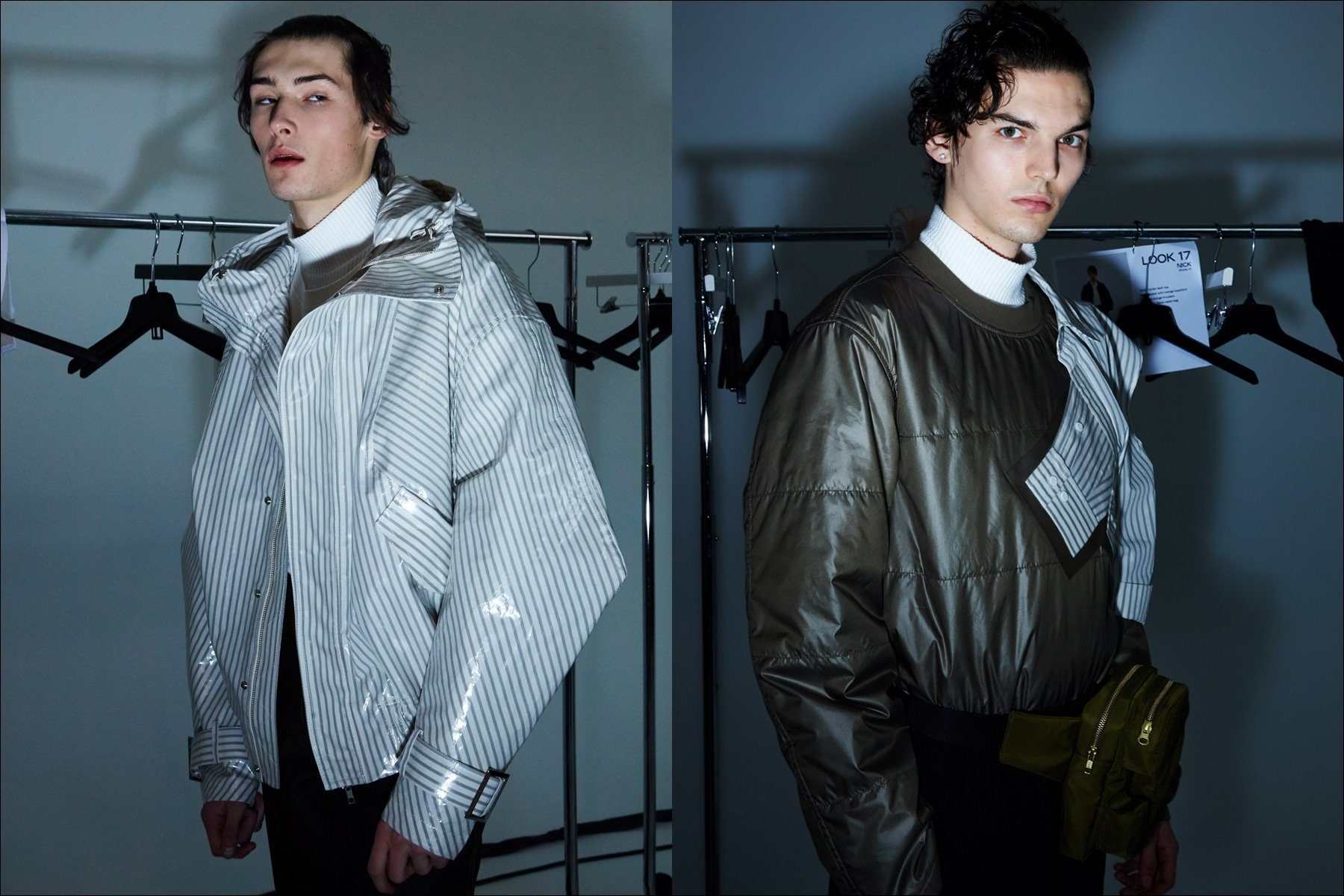 Male models Laurens & Eli snapped backstage wearing the latest from Feng Chen Wang, Fall 2018. Photography by Alexander Thompson for Ponyboy magazine.