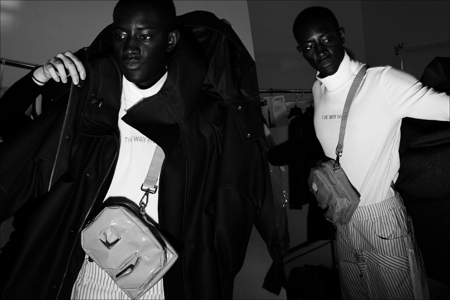 Male model Oumar Diouf photographed dressing backstage at Feng Chen Wang for Fall 2018. Photography by Alexander Thompson for Ponyboy magazine.