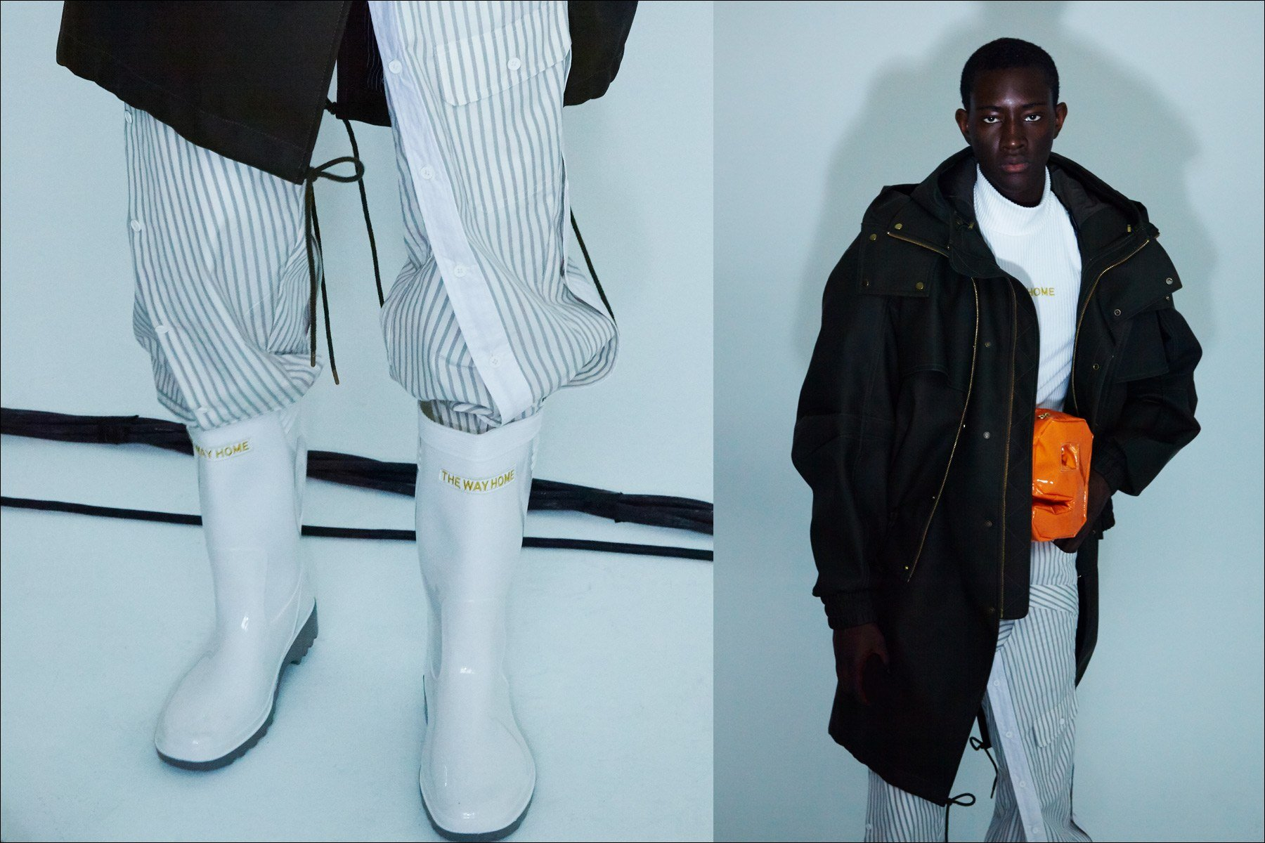 Model Oumar Diouf wears the latest from designer Feng Chen Wang, Fall 2018. Photography by Alexander Thompson for Ponyboy magazine.