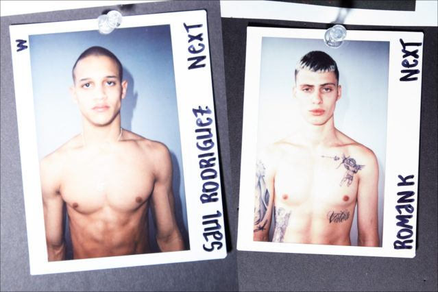 Polaroids of models Saul Rodriguez and Roman Kerekes-Shaw. backstage at Luar Fall 2018 collection. Photography by Alexander Thompson for Ponyboy magazine.