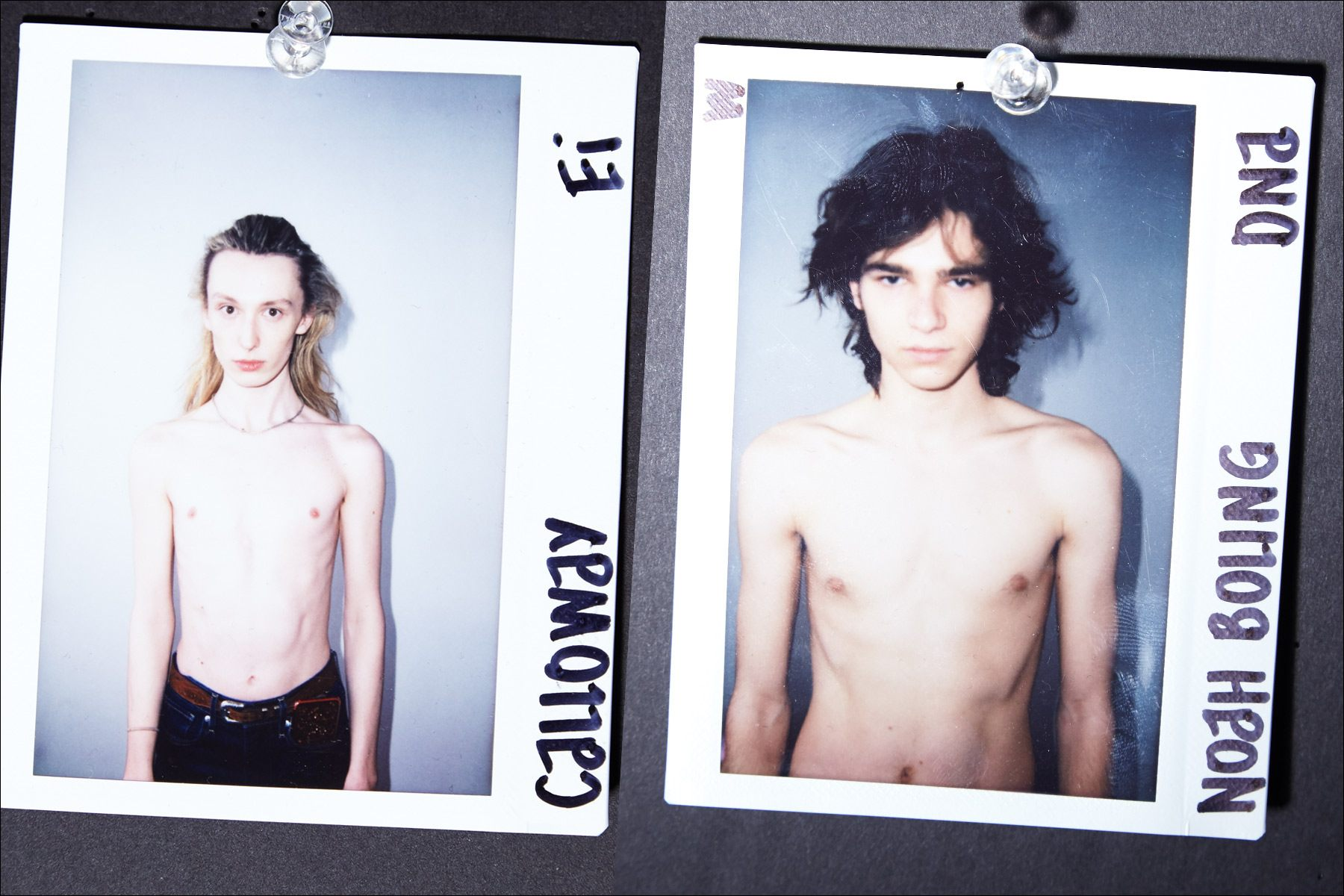 Polaroids of models Calloway and Noah Boling backstage at Luar Fall 2018 collection. Photography by Alexander Thompson for Ponyboy magazine.