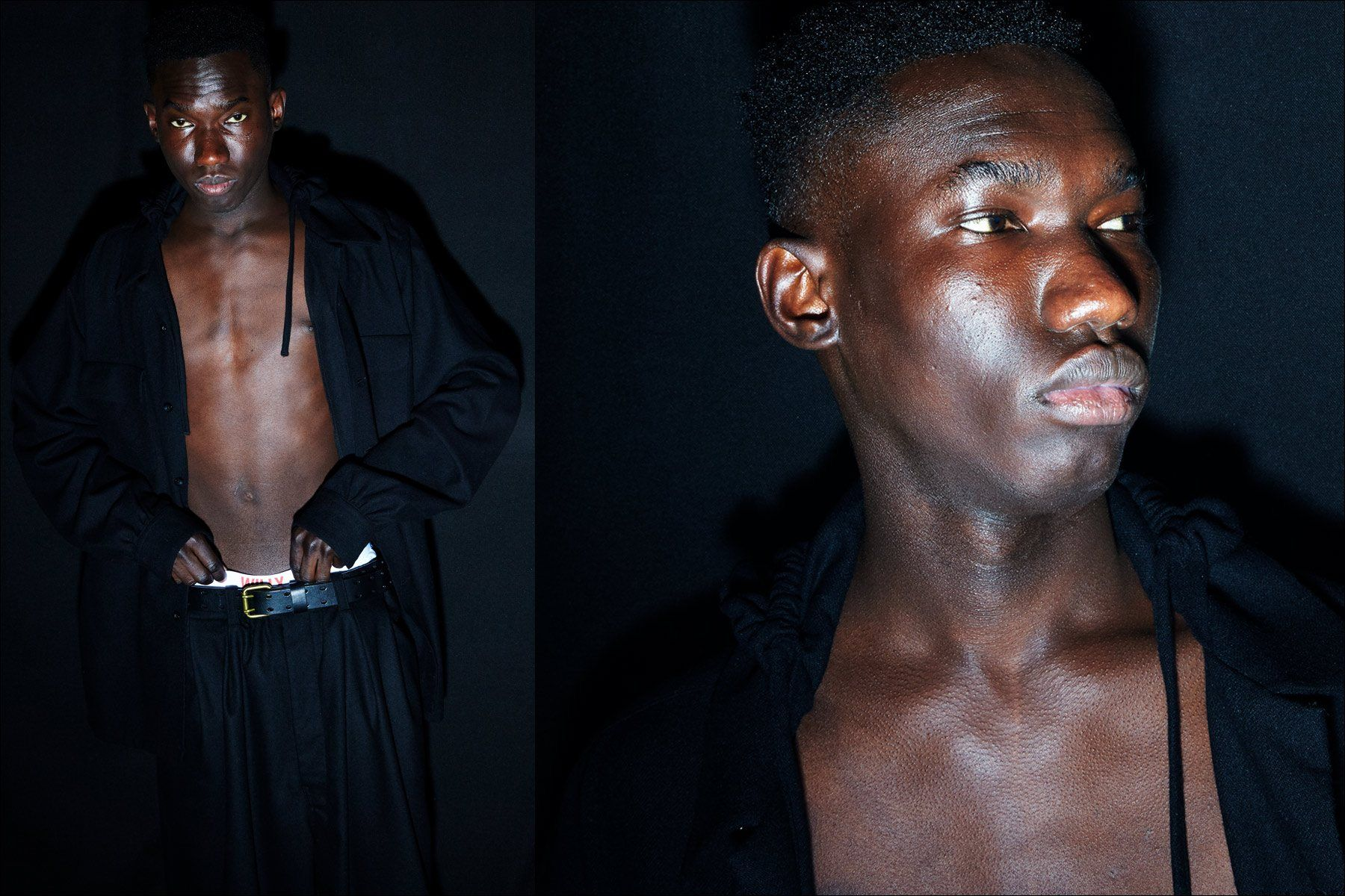 A model poses backstage at the Willy Chavarria menswear show for Fall 2018. Photographs by Alexander Thompson for Ponyboy magazine.