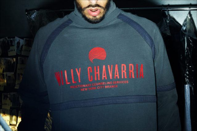 A Willy Chavarria graphic sweatshirt for Fall 2018. Photographed by Alexander Thompson for Ponyboy magazine.