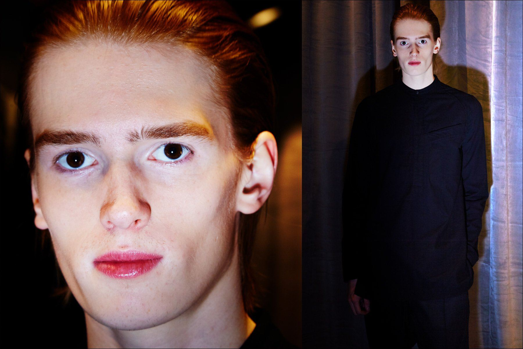 A model photographed backstage at the Abasi Rosborough menswear collection for Fall 2018 in New York City. Photography Alexander Thompson. Ponyboy magazine.