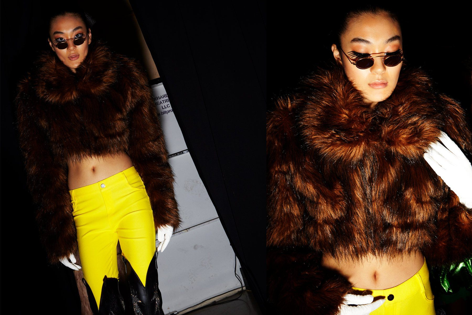 Fake fur and bright yellow trousers backstage at Christian Cowan for Fall 2018. Photography by Alexander Thompson for Ponyboy magazine.