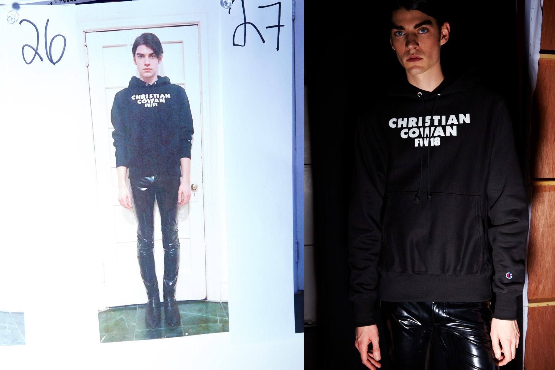 A male model wears a Christian Cowan sweatshirt and vinyl pants backstage for Fall 2018. Photography by Alexander Thompson for Ponyboy magazine.