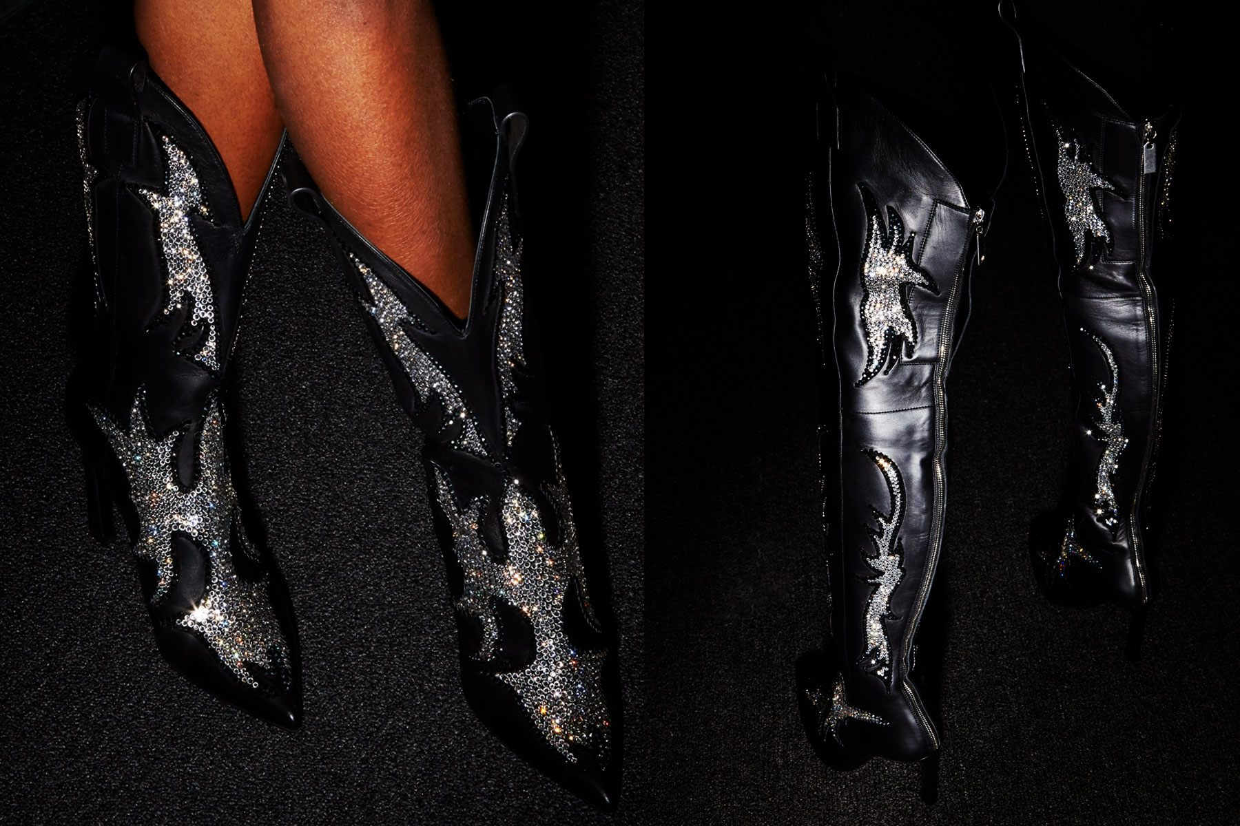 Stuart Weitzman rhinestone cowboy boots at Christian Cowan for Fall 2018. Photographed by Alexander Thompson for Ponyboy magazine.