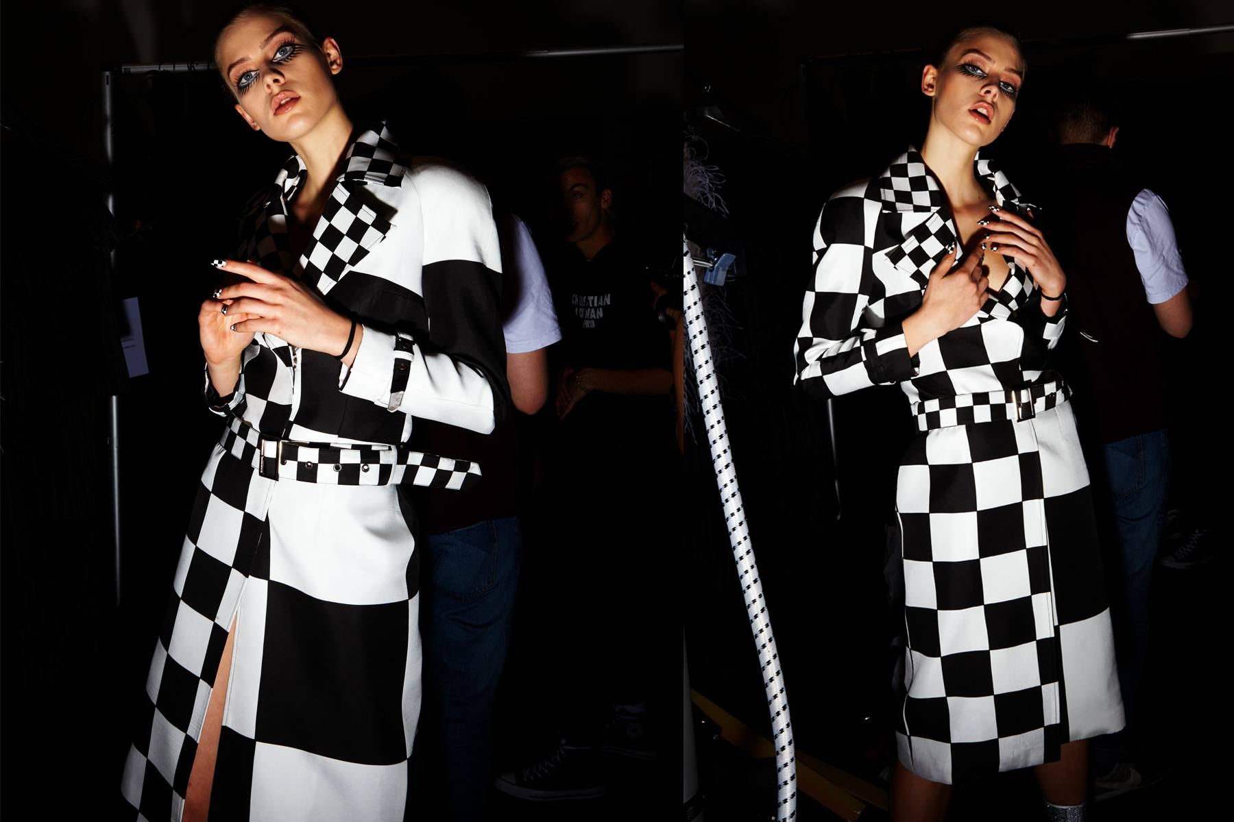 A B&W op-art trench backstage at Christian Cowan for Fall 2018. Photography by Alexander Thompson for Ponyboy magazine.