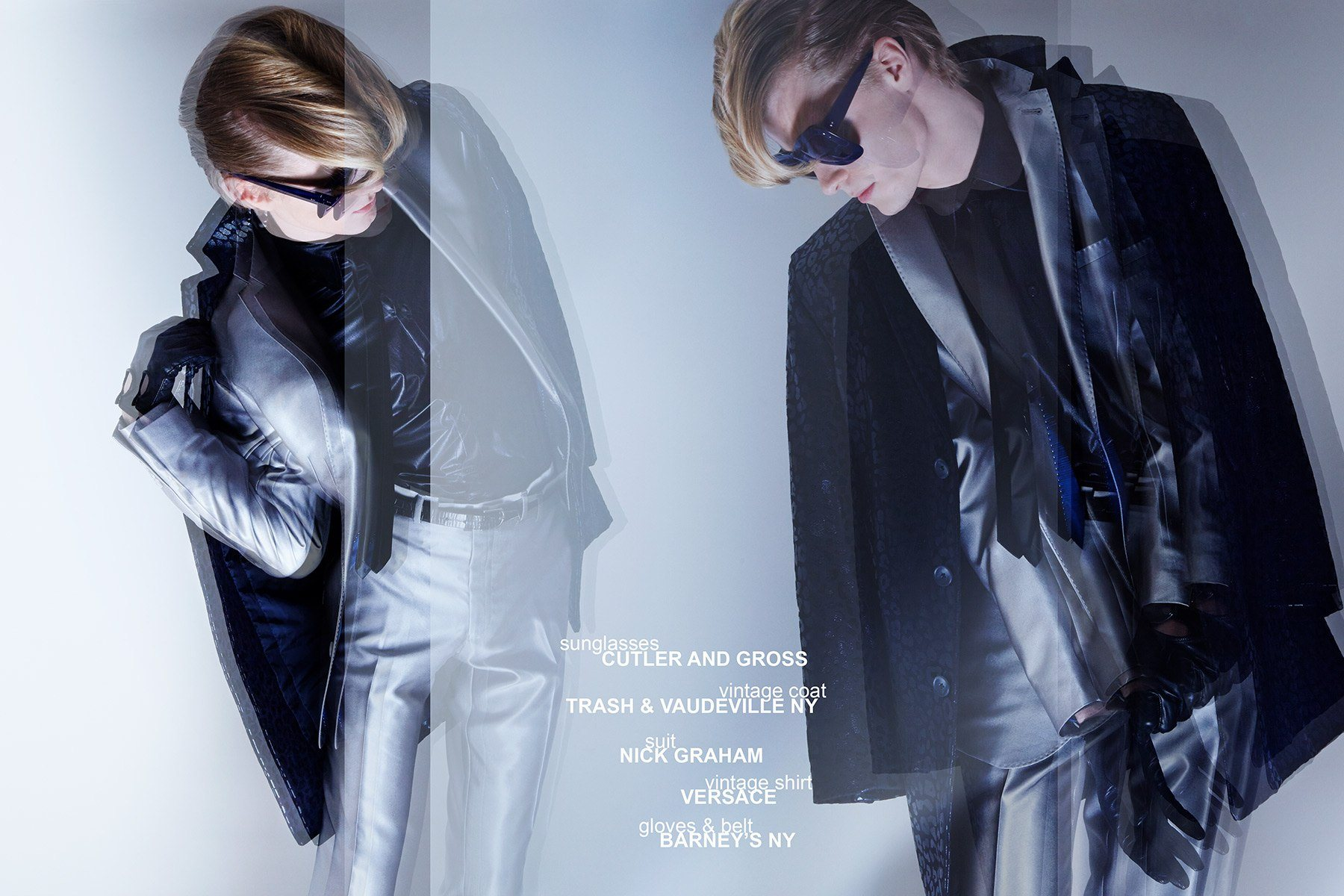 Model Miles Montierth wears a suit by Nick Graham for Ponyboy menswear editorial, photographed by Alexander Thompson.