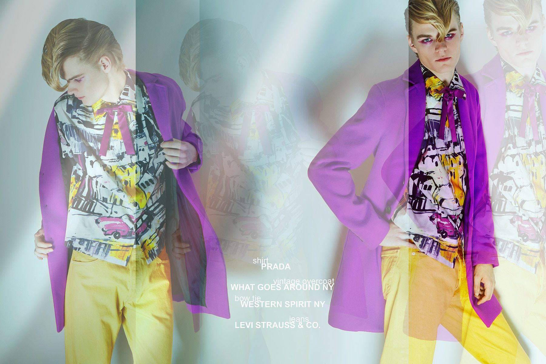 Model Miles Montierth wears a Prada shirt for Ponyboy menswear editorial, photographed by Alexander Thompson.