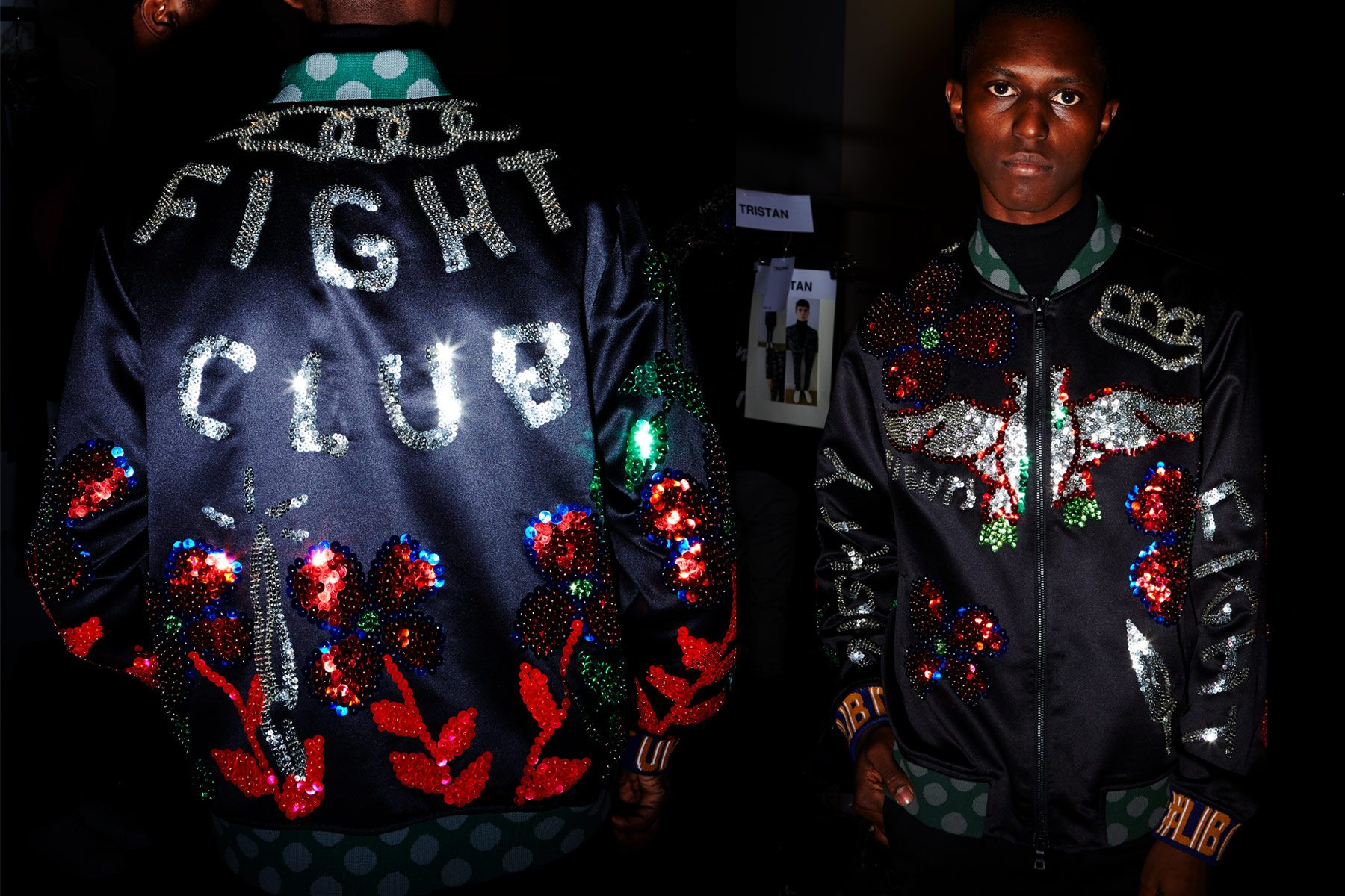 Sequined Fight Club jacket photographed backstage on a male model at Libertine for Fall 2018. Photography by Alexander Thompson for Ponyboy magazine.