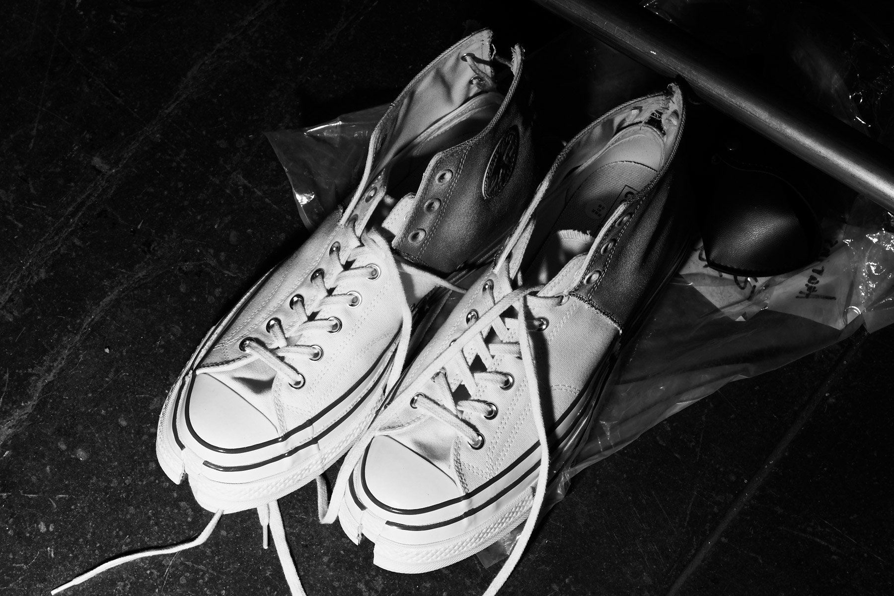 Customized Converse Chuck Taylor's backstage at Feng Chen Wang for Spring 2019. Photographed by Alexander Thompson for Ponyboy magazine.