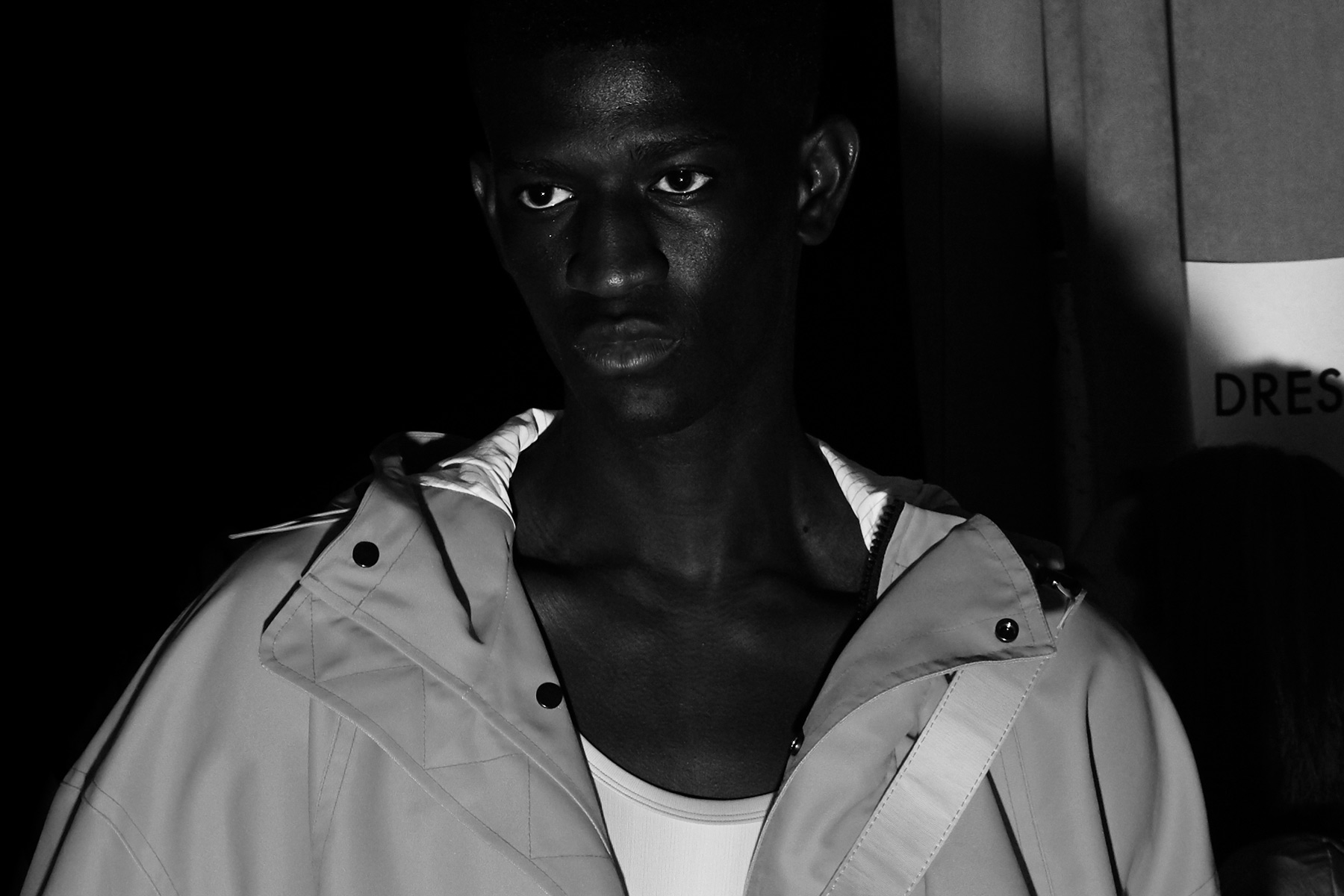 Model Ibby Sow snapped backstage at Feng Chen Wang for Spring 2019. Photography by Alexander Thompson for Ponyboy magazine.