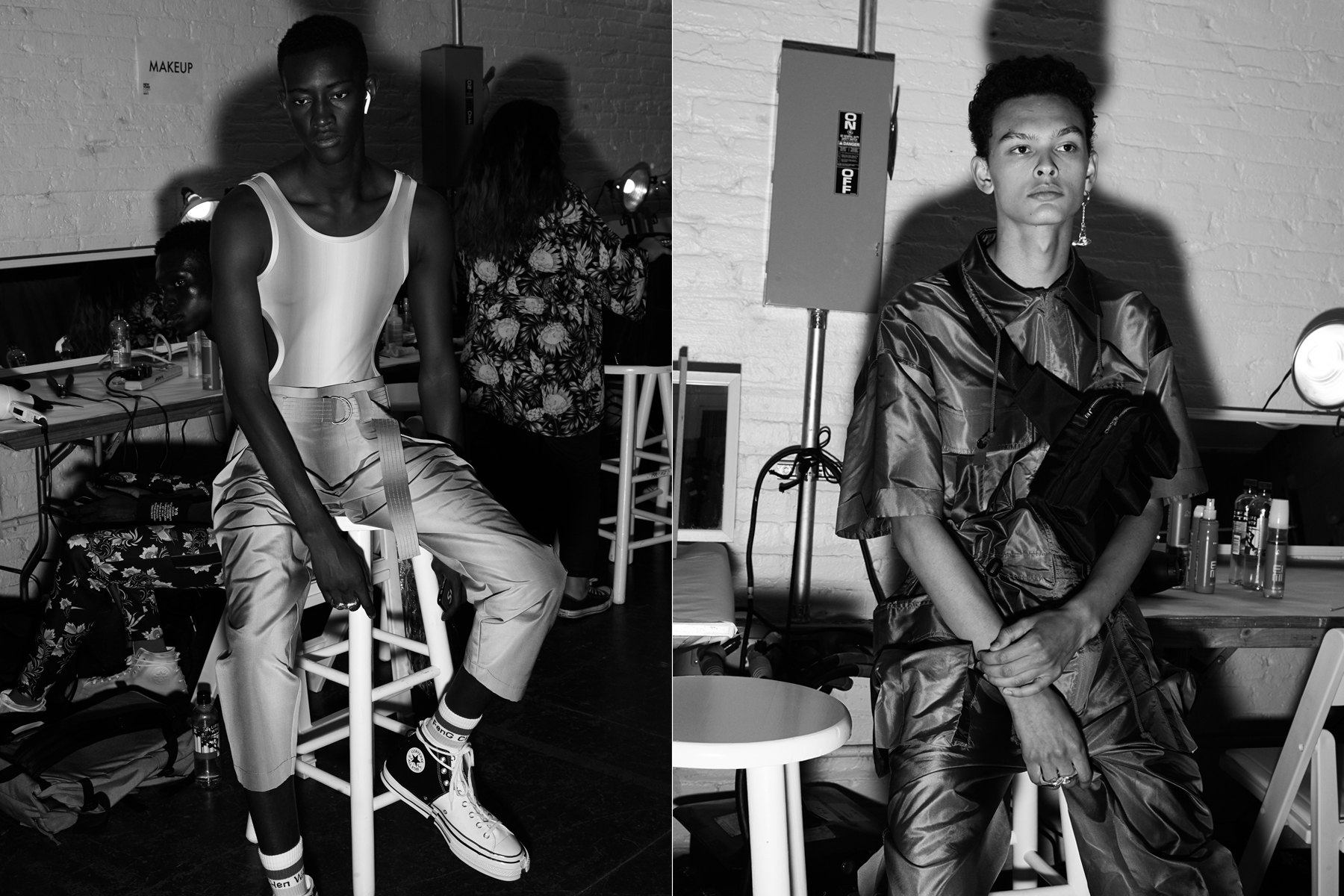 B&W portraits of male models backstage at Feng Chen Wang for Spring 2019. Photographed by Alexander Thompson for Ponyboy magazine.