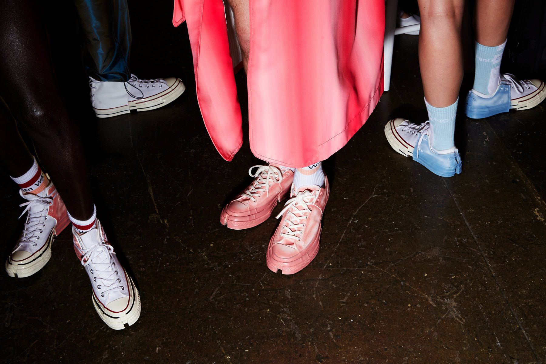 Customized Converse Chuck Taylor's backstage at designer Feng Chen Wang for Spring 2019. Photographed by Alexander Thompson for Ponyboy magazine.