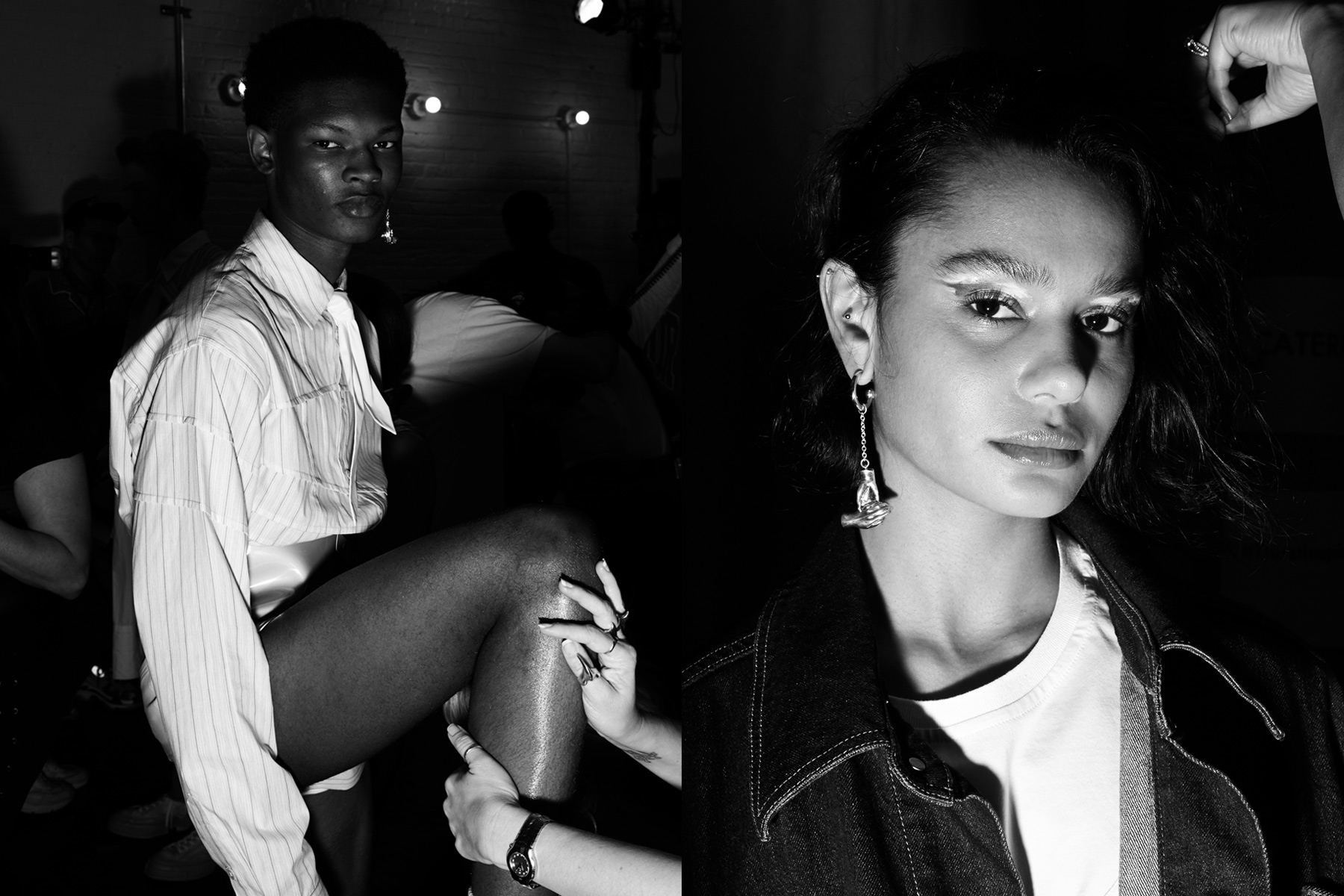 Model Jabali Sandiford backstage in makeup at the Feng Chen Wang Spring 2019 menswear show. Photography by Alexander Thompson for Ponyboy magazine.