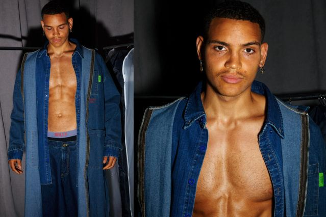 A male model wears a denim look backstage at Willy Chavarria for Spring 2019. Photography by Alexander Thompson for Ponyboy magazine.