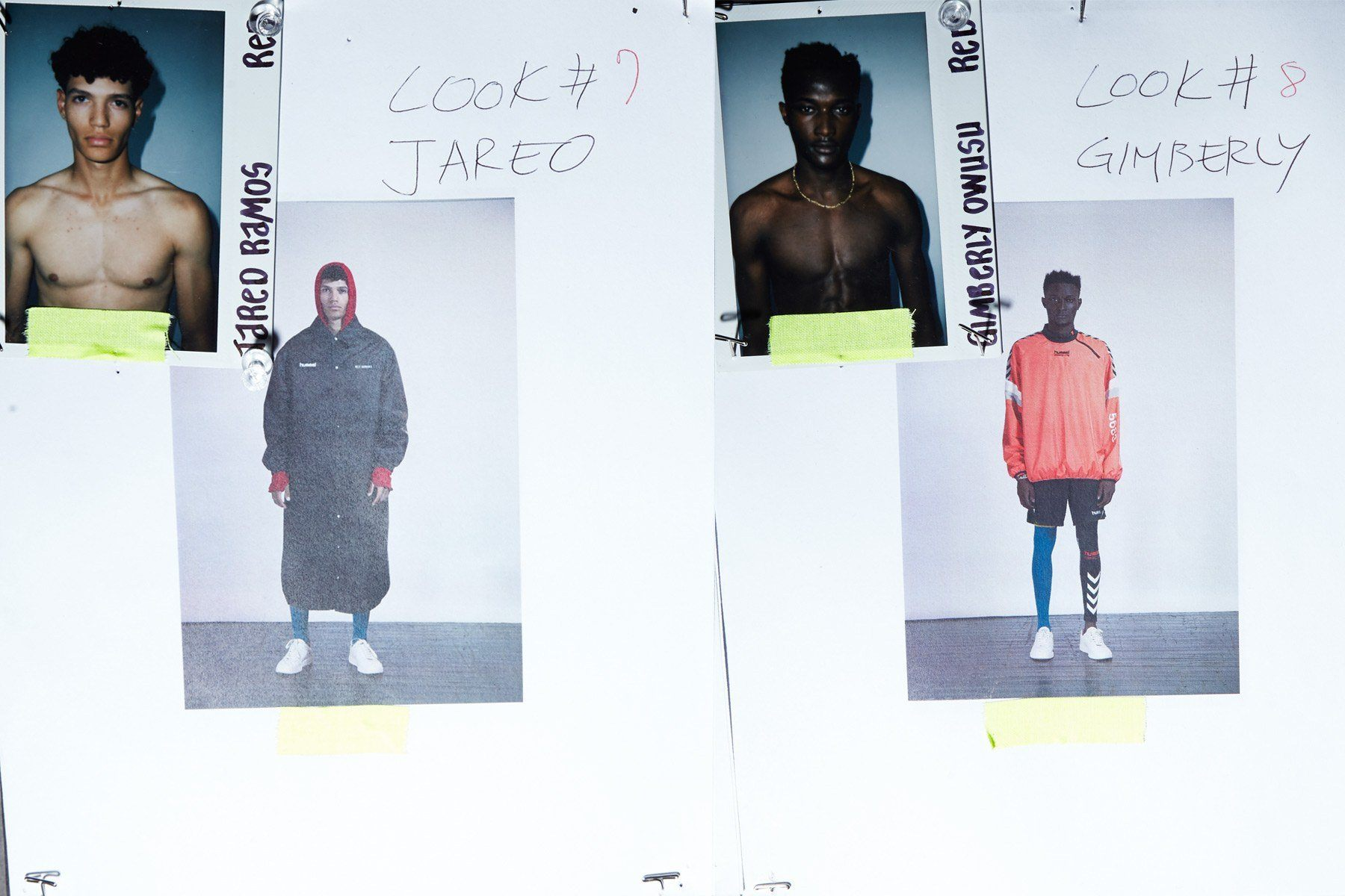 Backstage looks for male models Jared Ramos and Gimberly Owusu for Willy Chavarria Spring 2019. Ponyboy magazine.