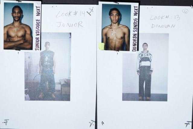 Backstage looks for male models Junior Vasquez and Donovan Santos for Willy Chavarria Spring 2019. Ponyboy magazine.