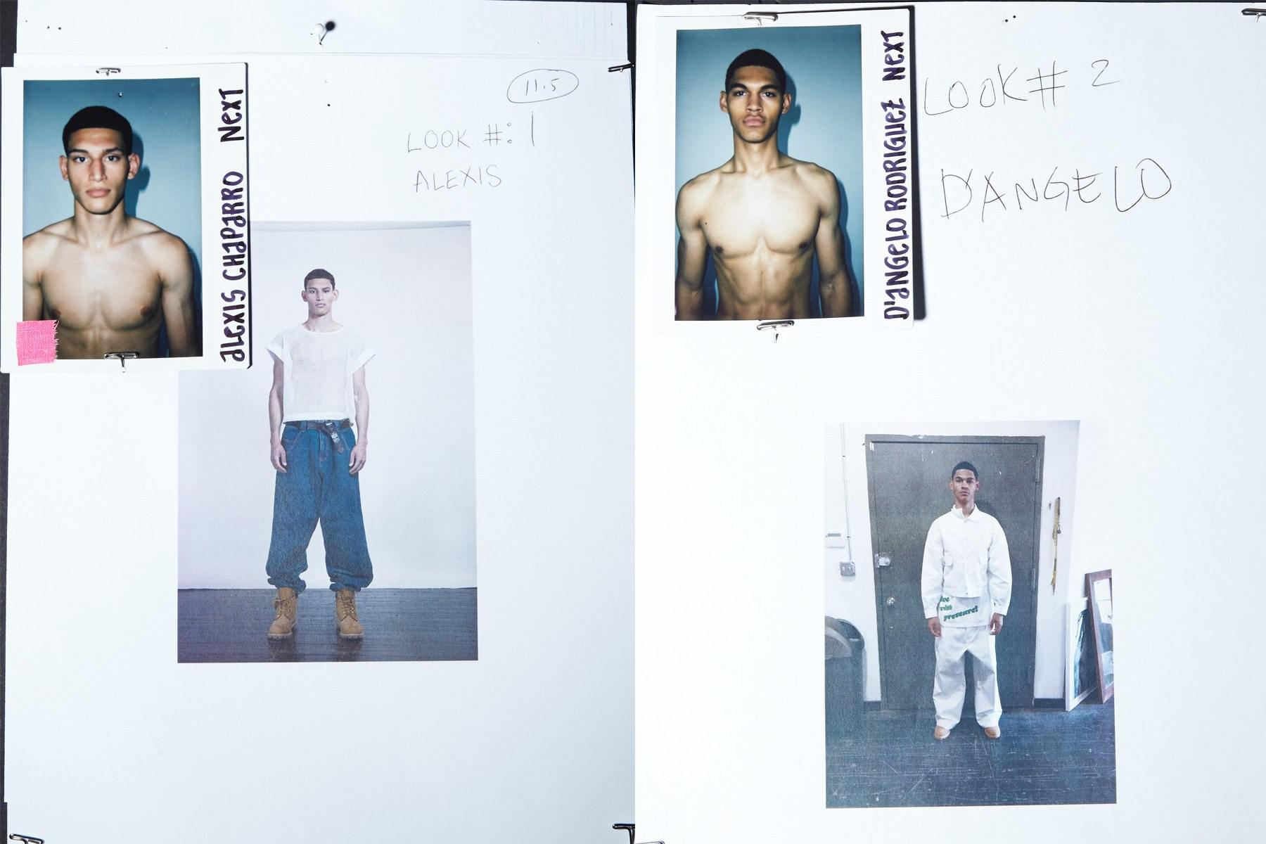 Backstage looks for male models Alexis Chaparro and D'Angelo Rodriguez for Willy Chavarria Spring 2019. Ponyboy magazine.