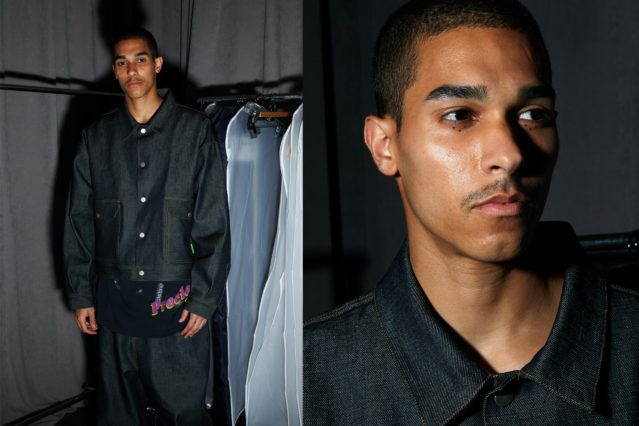 Model Andres Robles photographed backstage at the Willy Chavarria 2019 menswear show by Alexander Thompson for Ponyboy magazine.
