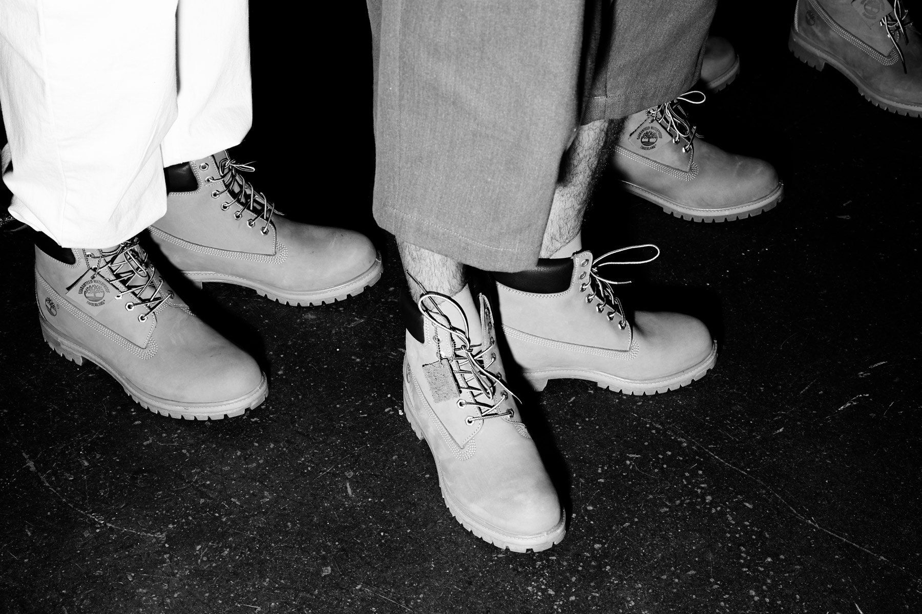 Timberland boots backstage at the Willy Chavarria menswear show for Spring 2019. Photography by Alexander Thompson for Ponyboy magazine.
