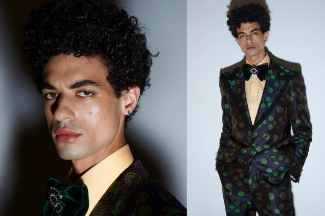 Model Malik Alain photographed backstage at David Hart for Spring/Summer 2019. Photography by Alexander Thompson for Ponyboy magazine.
