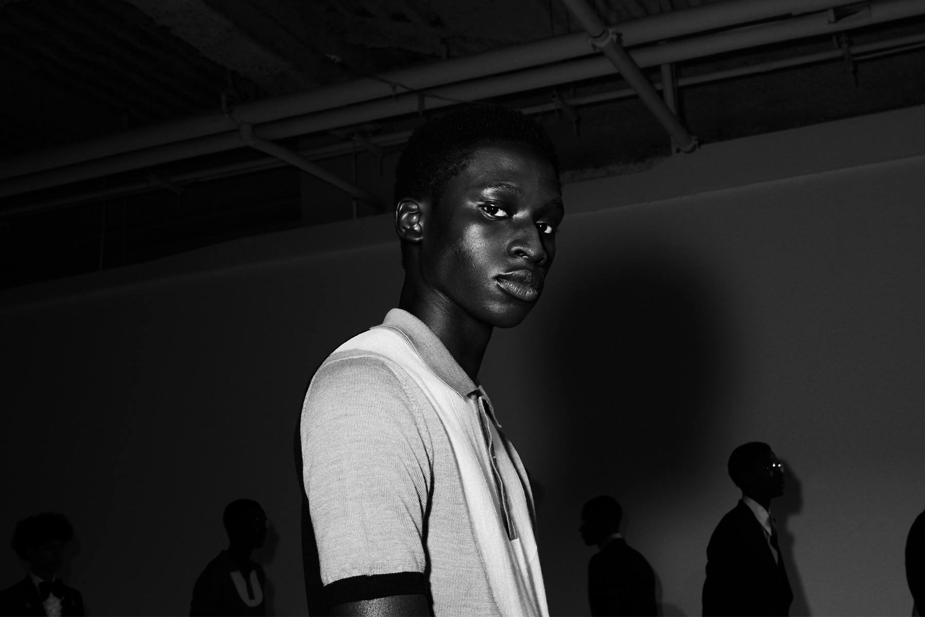 Model Baba Diop at David Hart for Spring/Summer 2019.