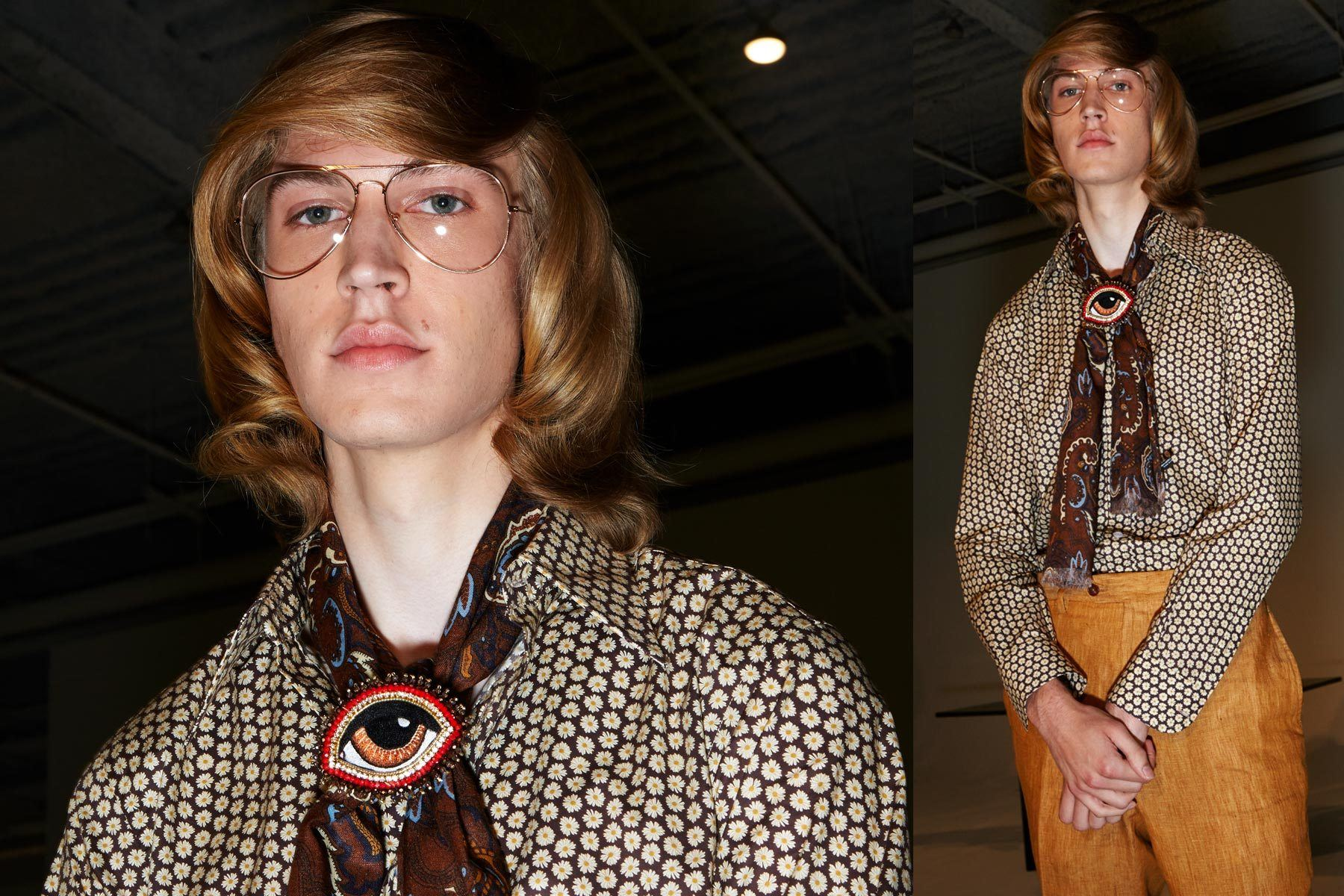 A male model wearing 70s inspired menswear at David Hart for Spring/Summer 2019. Photography by Alexander Thompson for Ponyboy magazine.