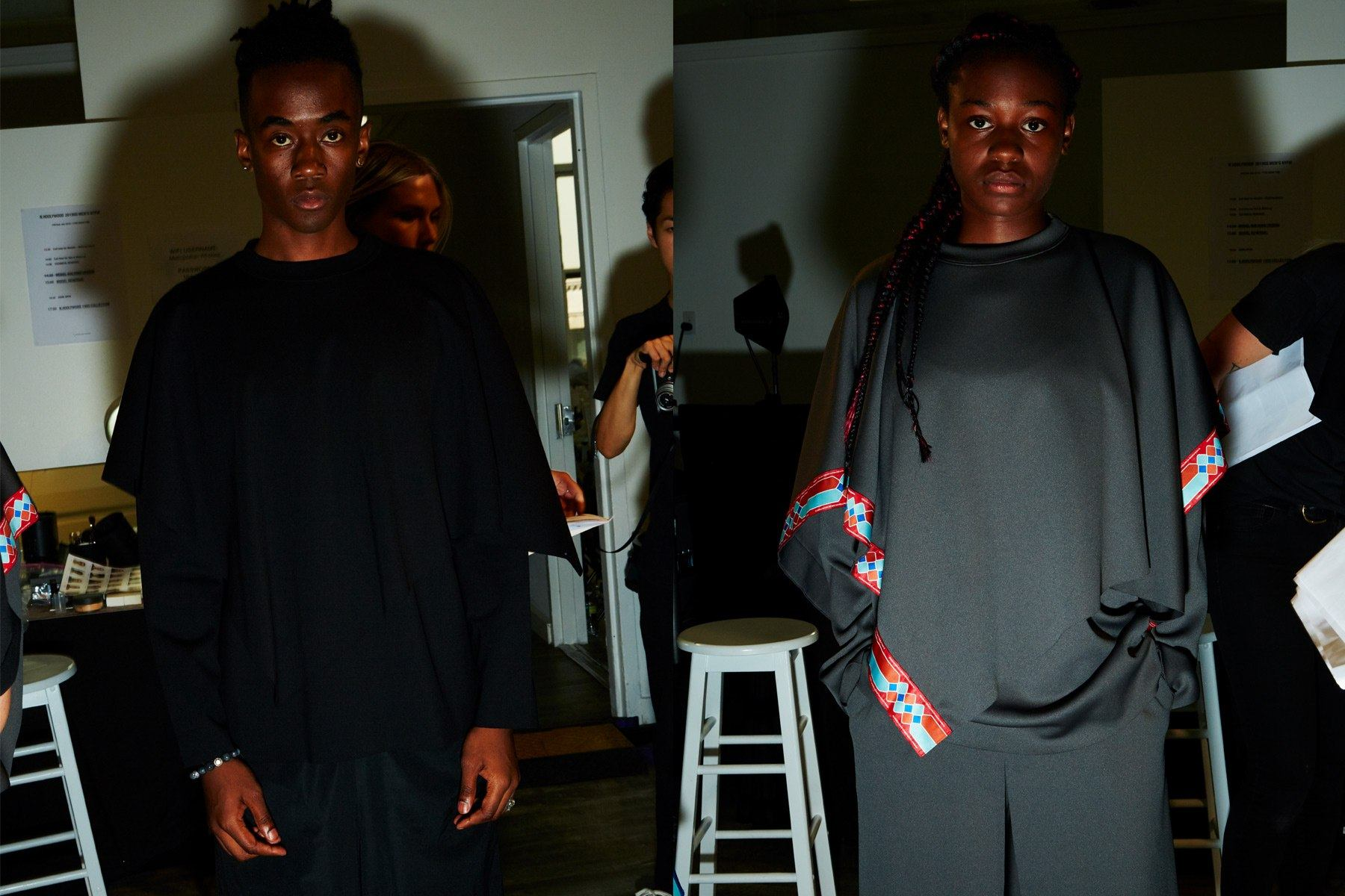 Black and grey draped looks backstage at the N. Hoolywood Spring 2019 menswear show. Photography by Alexander Thompson for Ponyboy magazine.