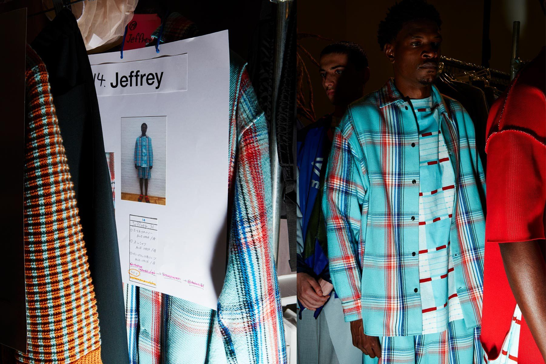 Model Jeffrey's look photographed backstage at the N. Hoolywood Spring 2019 menswear show. Photographed by Alexander Thompson for Ponyboy magazine.
