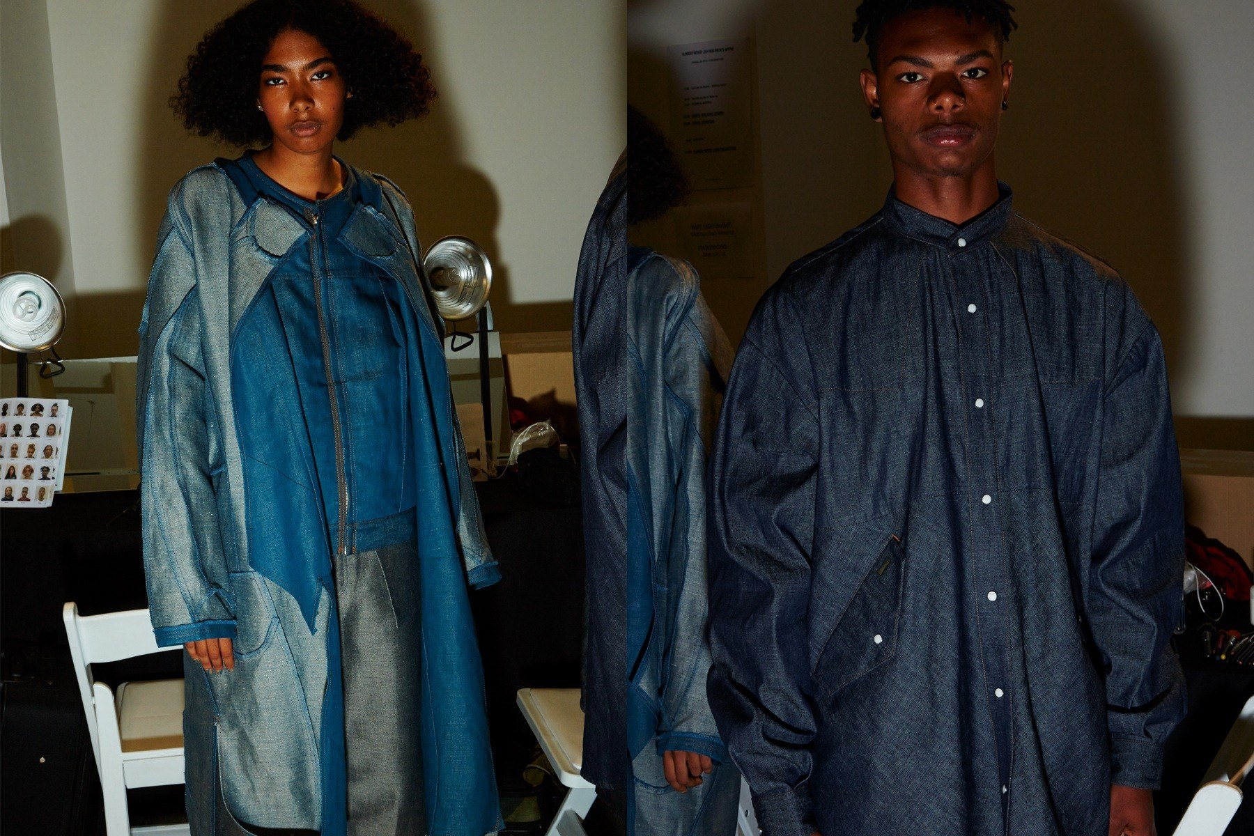 Denim looks photographed backstage at the N. Hoolywood Spring 2019 menswear show. Photographed by Alexander Thompson for Ponyboy magazine.